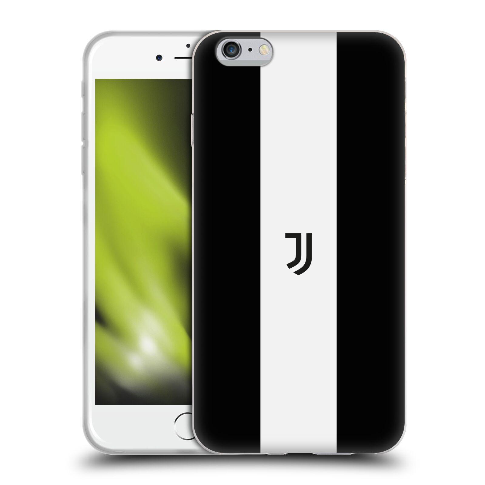 HEAD CASE silikonový obal na mobil Apple Iphone 6/6S PLUS Fotbalový klub Juventus FC pruhy znak černá a bílá