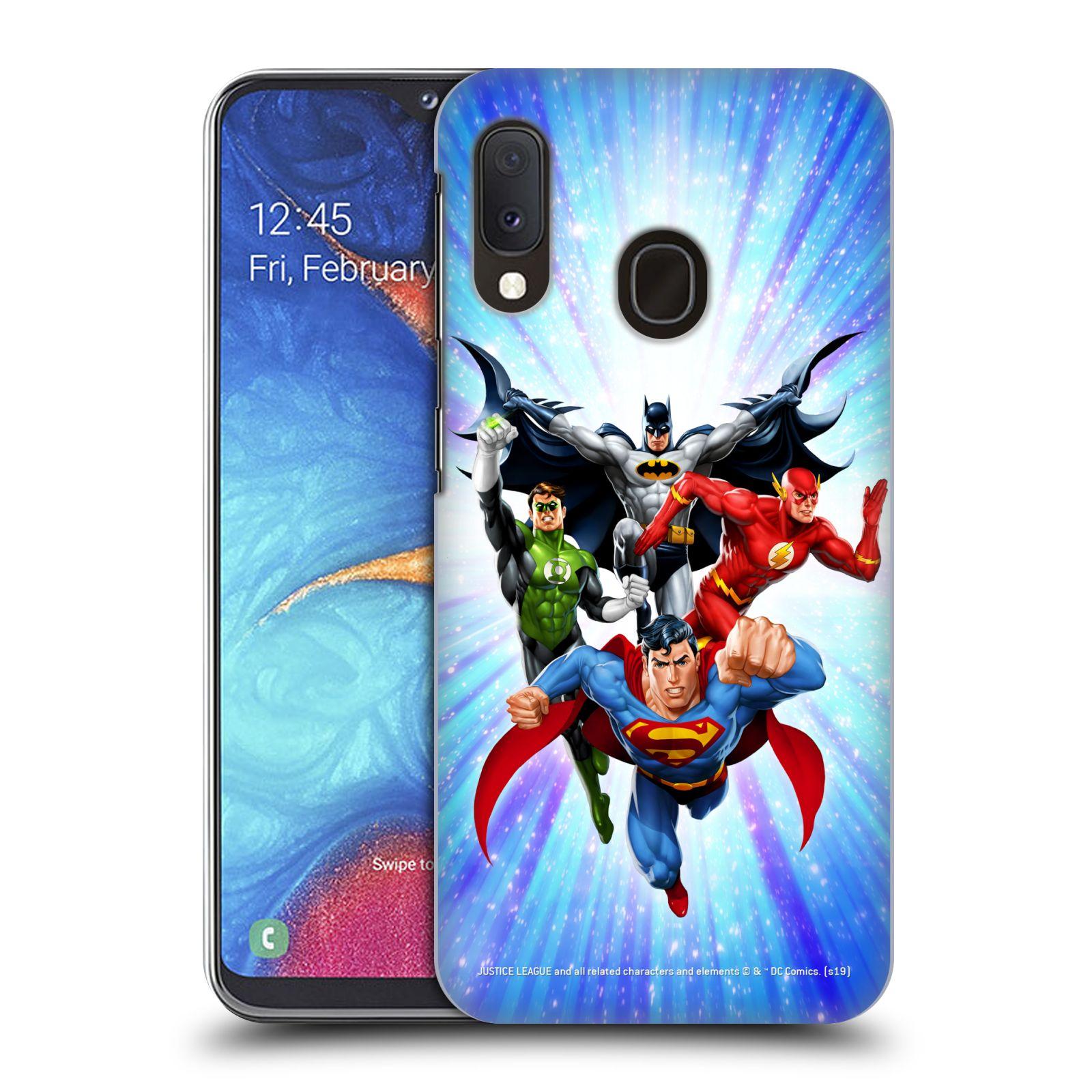 Pouzdro na mobil Samsung Galaxy A20e - HEAD CASE - DC komix Liga Spravedlivých hrdinové