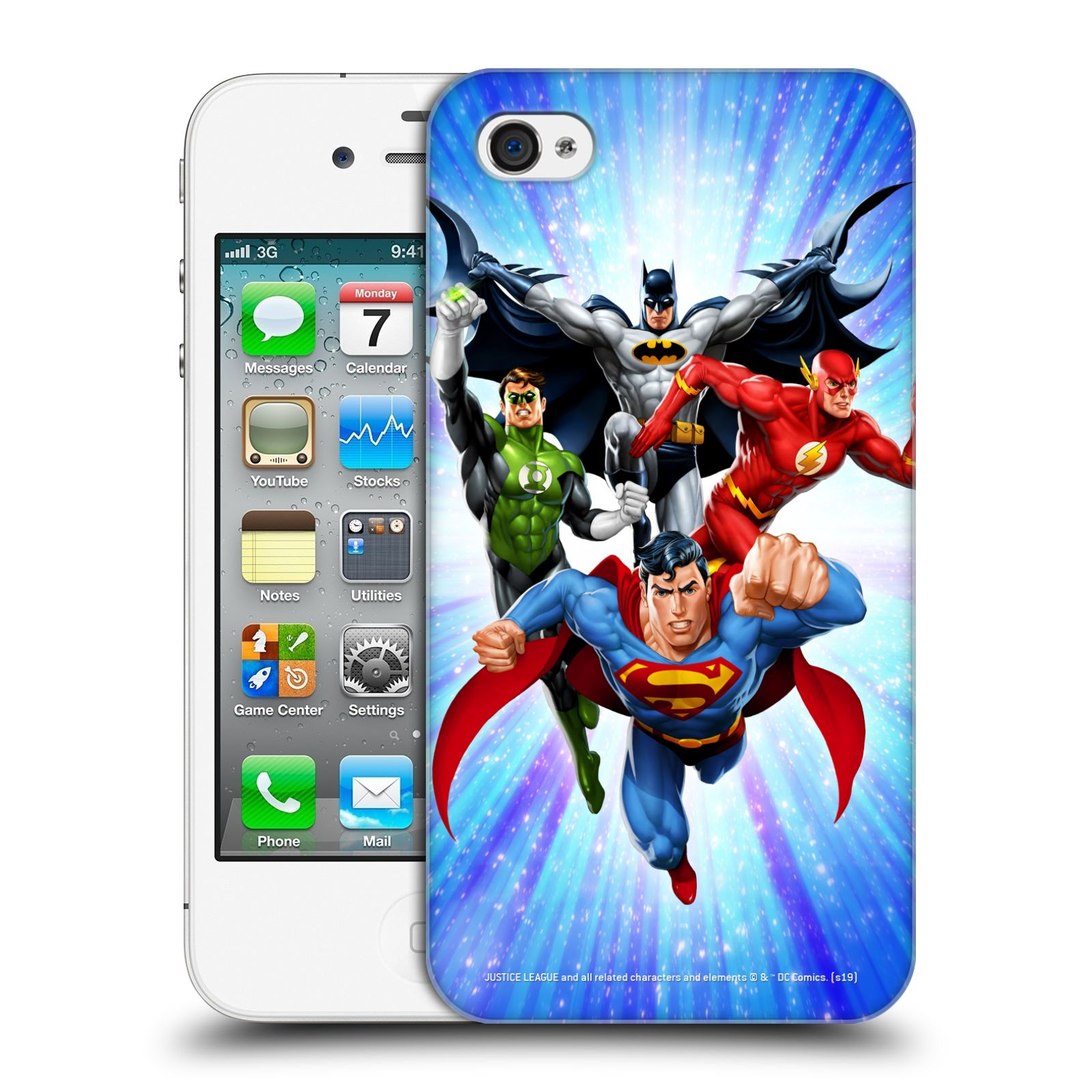 Pouzdro na mobil Apple Iphone 4/4S - HEAD CASE - DC komix Liga Spravedlivých hrdinové