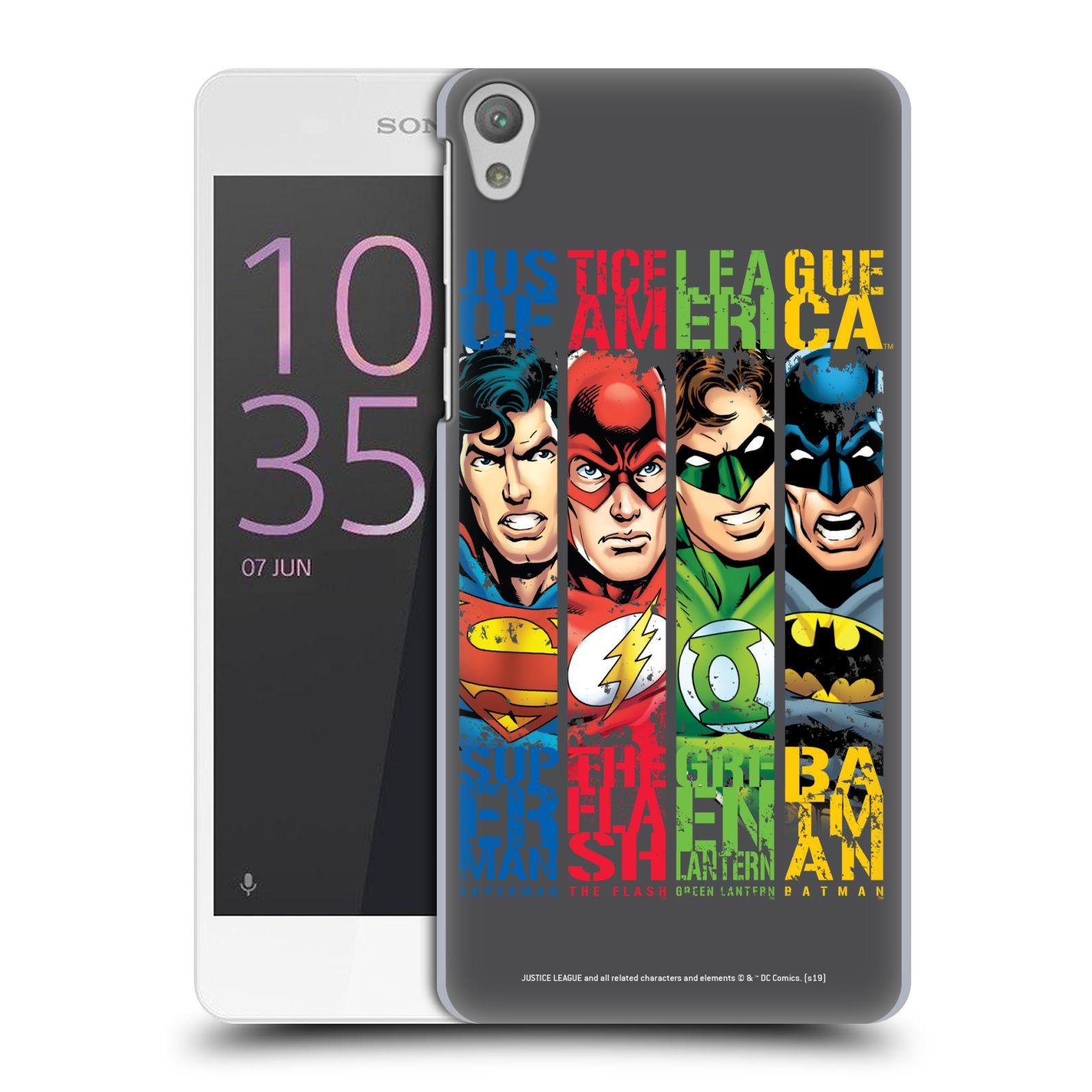 Pouzdro na mobil Sony Xperia E5 - HEAD CASE - DC komix Liga Spravedlivých hrdinové