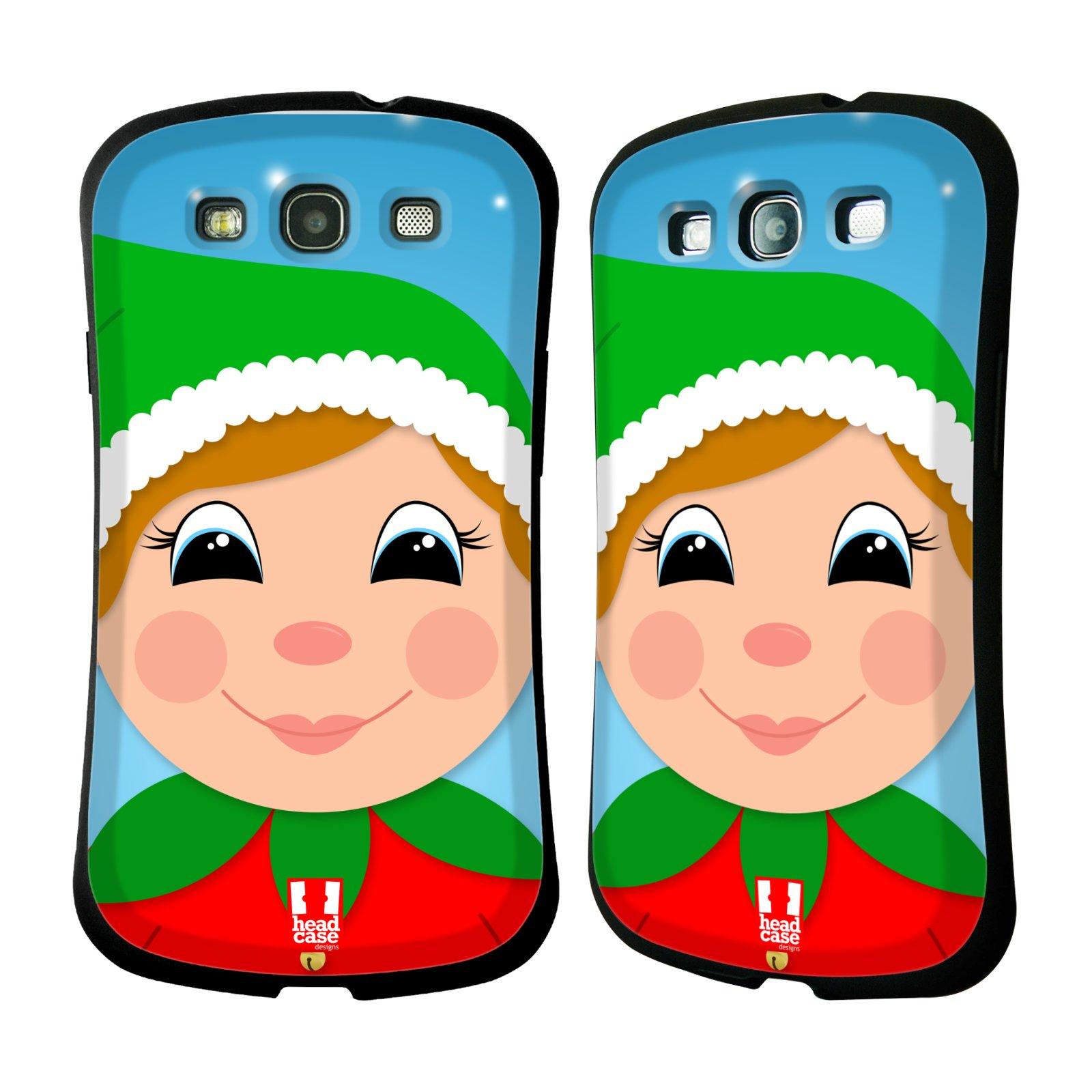 HEAD CASE silikon/plast odolný obal na mobil Samsung Galaxy S3 vzor Vánoční tváře kreslené ELF