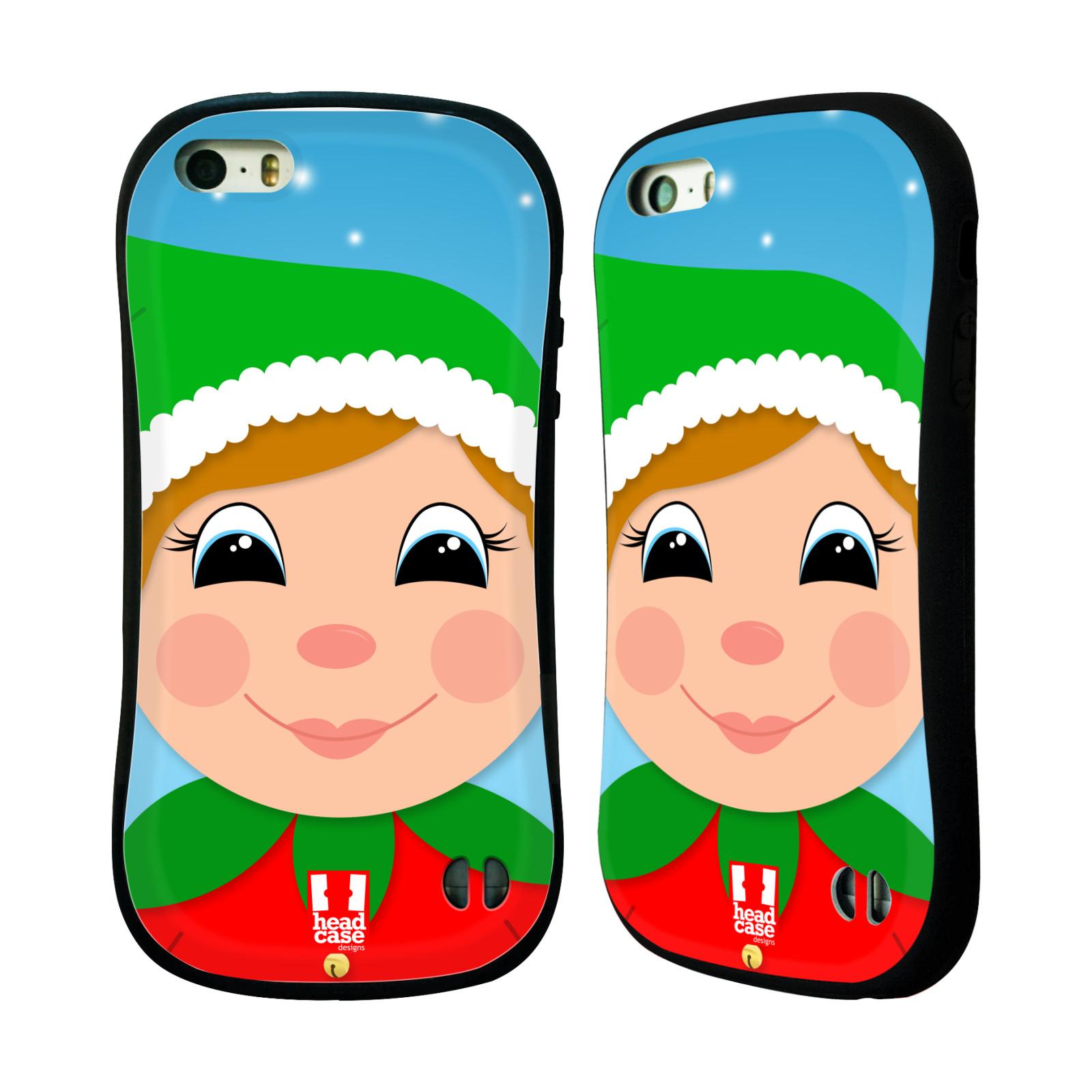 HEAD CASE silikon/plast odolný obal na mobil Apple Iphone 5/5S vzor Vánoční tváře kreslené ELF