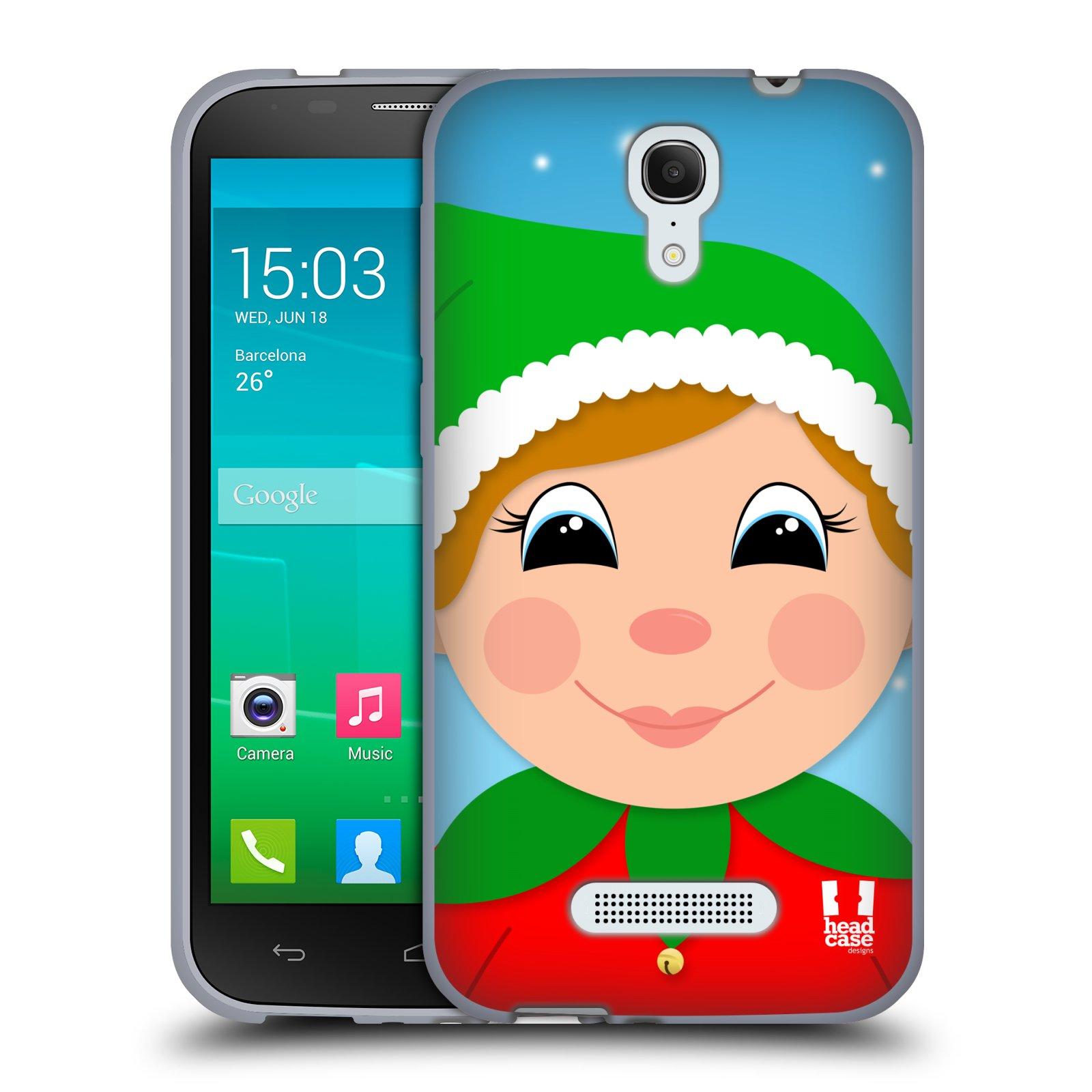 HEAD CASE silikonový obal na mobil Alcatel POP S7 vzor Vánoční tváře kreslené ELF