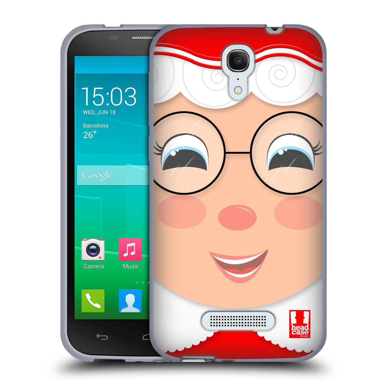 HEAD CASE silikonový obal na mobil Alcatel POP S7 vzor Vánoční tváře kreslené PANÍ CLAUSOVÁ