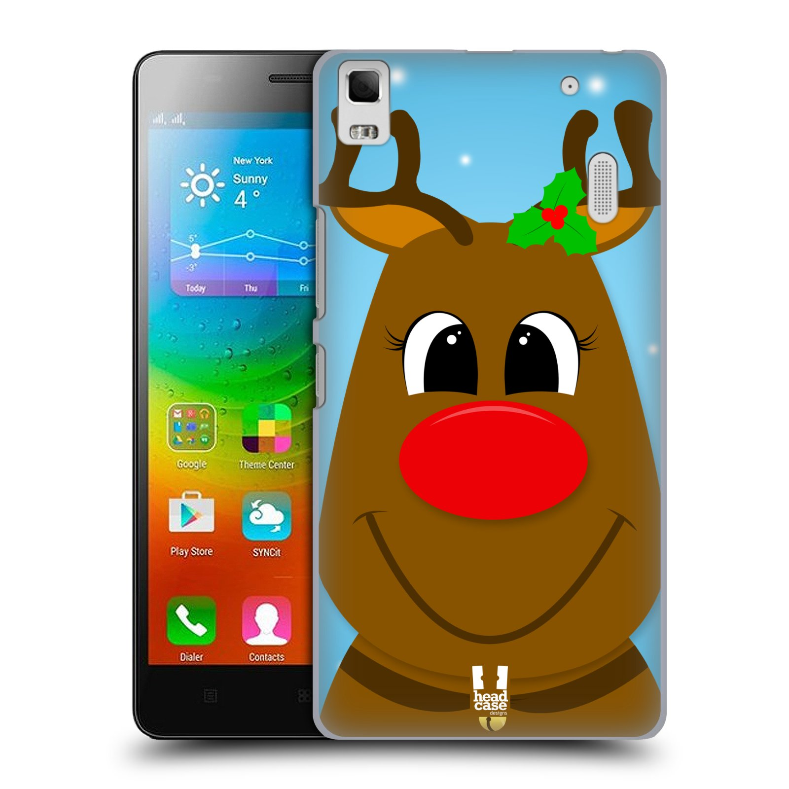 HEAD CASE pevný plastový obal na mobil LENOVO A7000 / A7000 DUAL / K3 NOTE vzor Vánoční tváře kreslené SOB RUDOLF