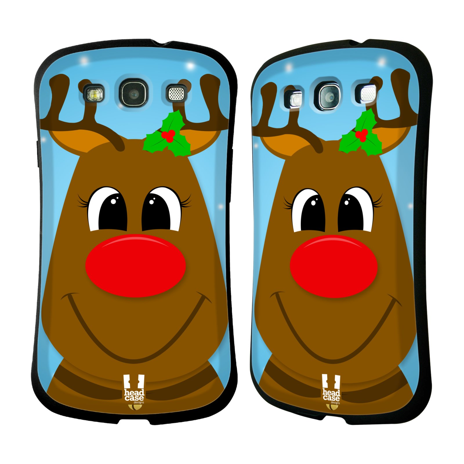 HEAD CASE silikon/plast odolný obal na mobil Samsung Galaxy S3 vzor Vánoční tváře kreslené SOB RUDOLF