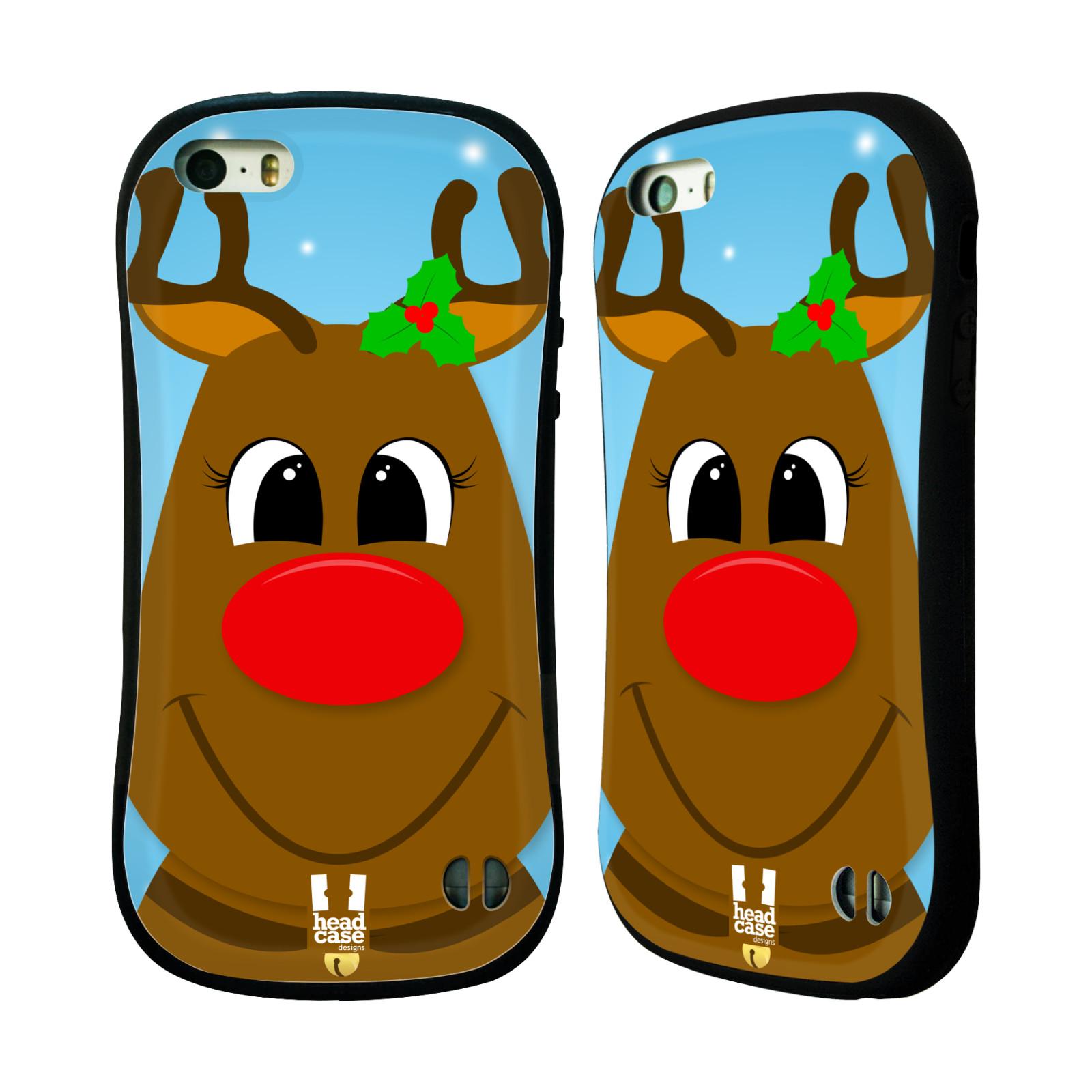 HEAD CASE silikon/plast odolný obal na mobil Apple Iphone 5/5S vzor Vánoční tváře kreslené SOB RUDOLF