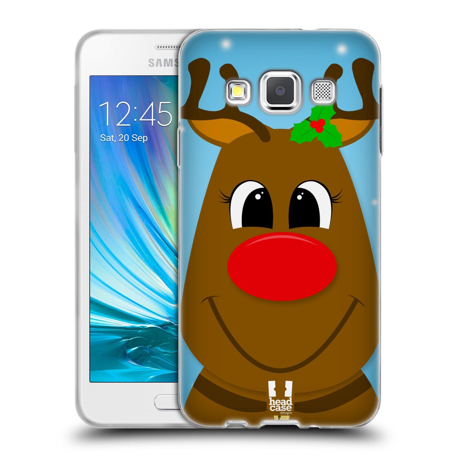 HEAD CASE silikonový obal na mobil Samsung Galaxy A3 vzor Vánoční tváře kreslené SOB RUDOLF