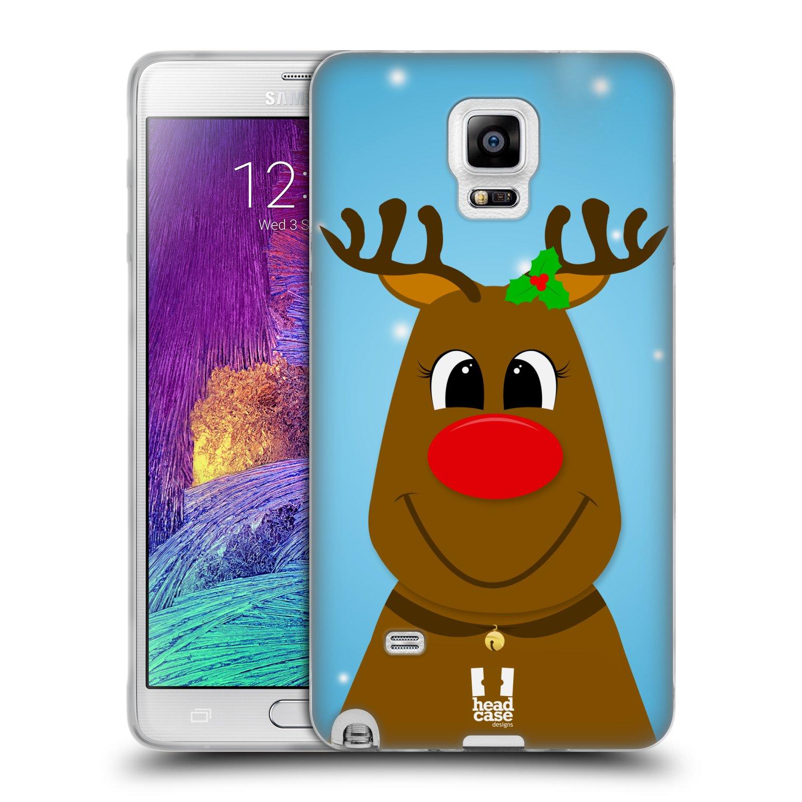 HEAD CASE silikonový obal na mobil Samsung Galaxy Note 4 (N910) vzor Vánoční tváře kreslené SOB RUDOLF