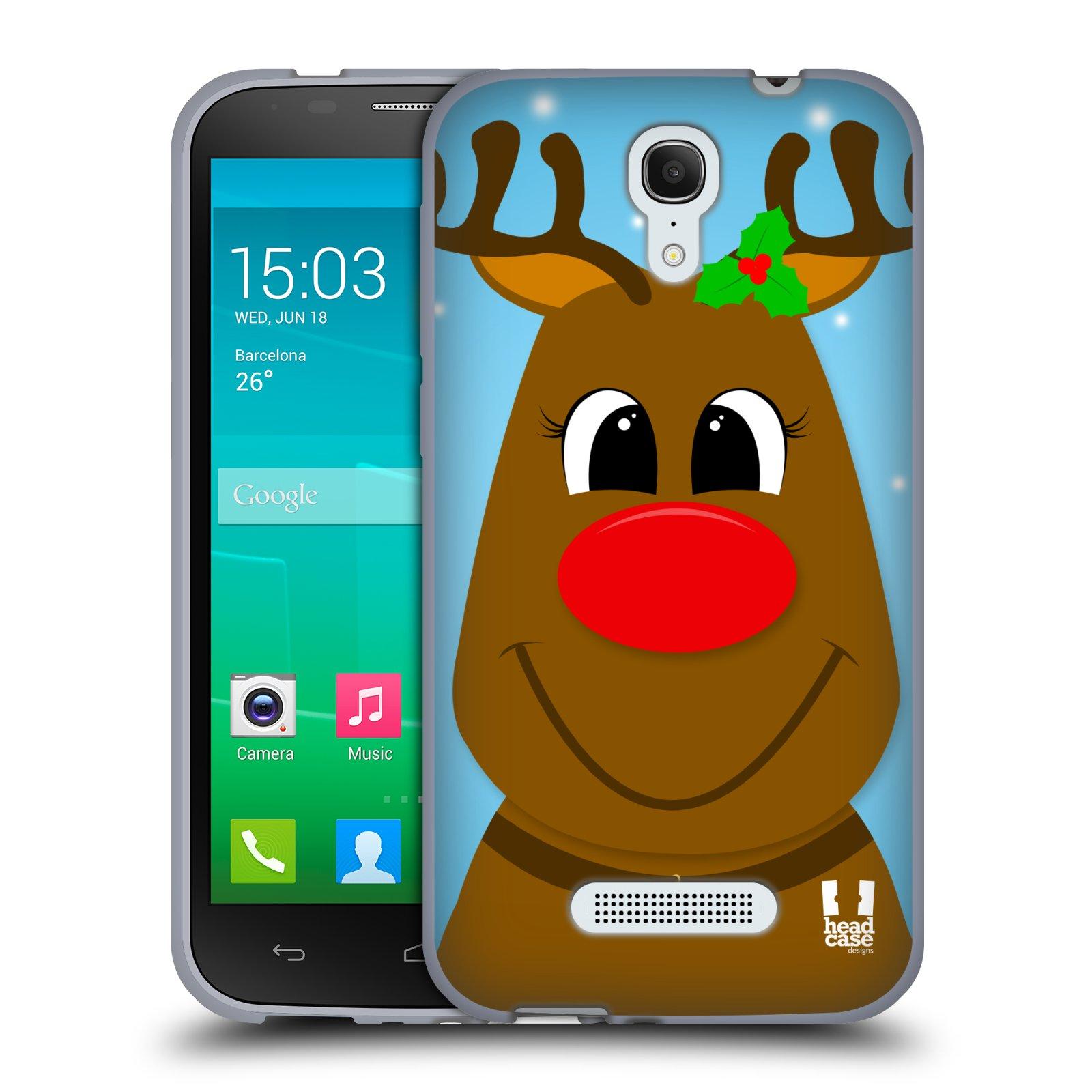 HEAD CASE silikonový obal na mobil Alcatel POP S7 vzor Vánoční tváře kreslené SOB RUDOLF