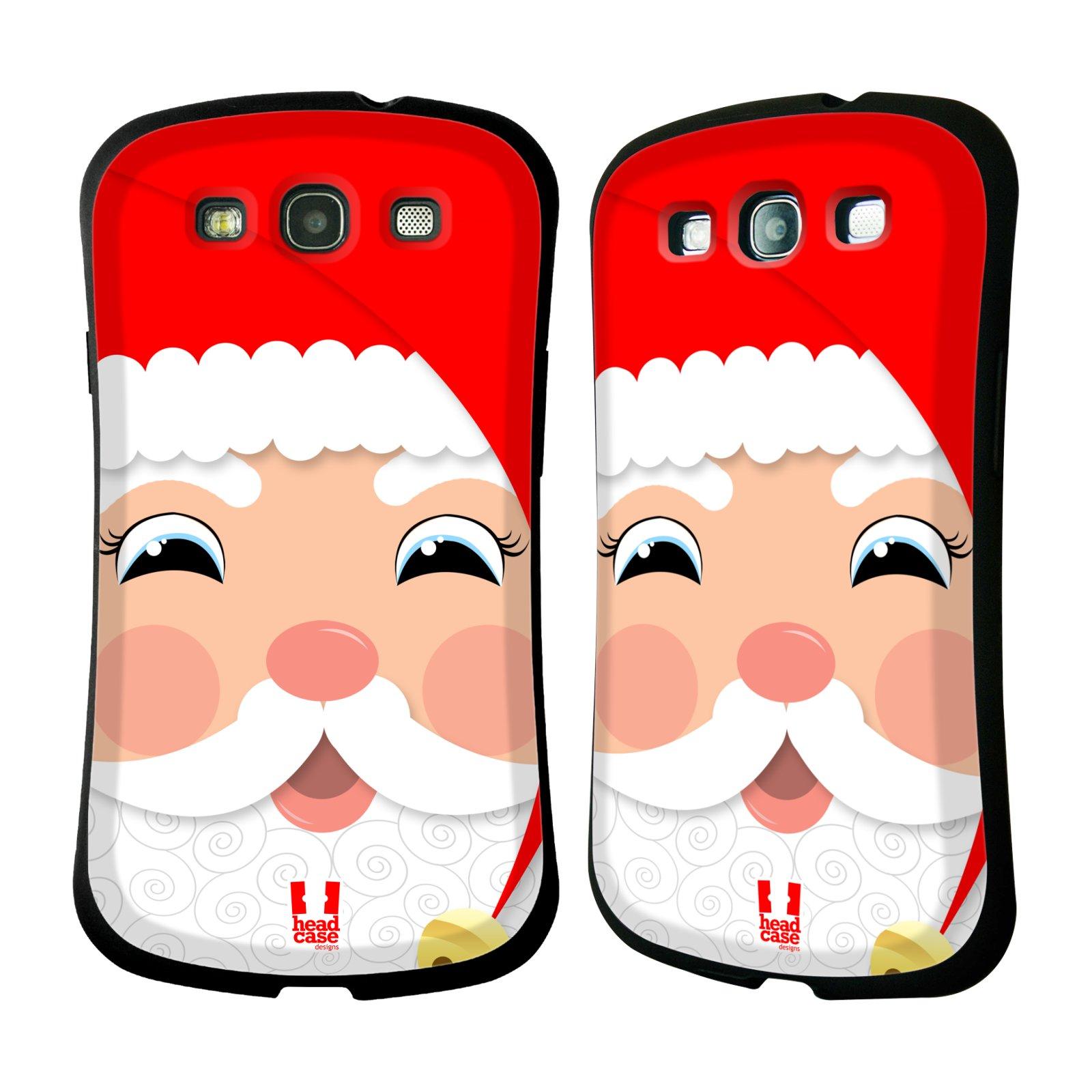 HEAD CASE silikon/plast odolný obal na mobil Samsung Galaxy S3 vzor Vánoční tváře kreslené SANTA CLAUS