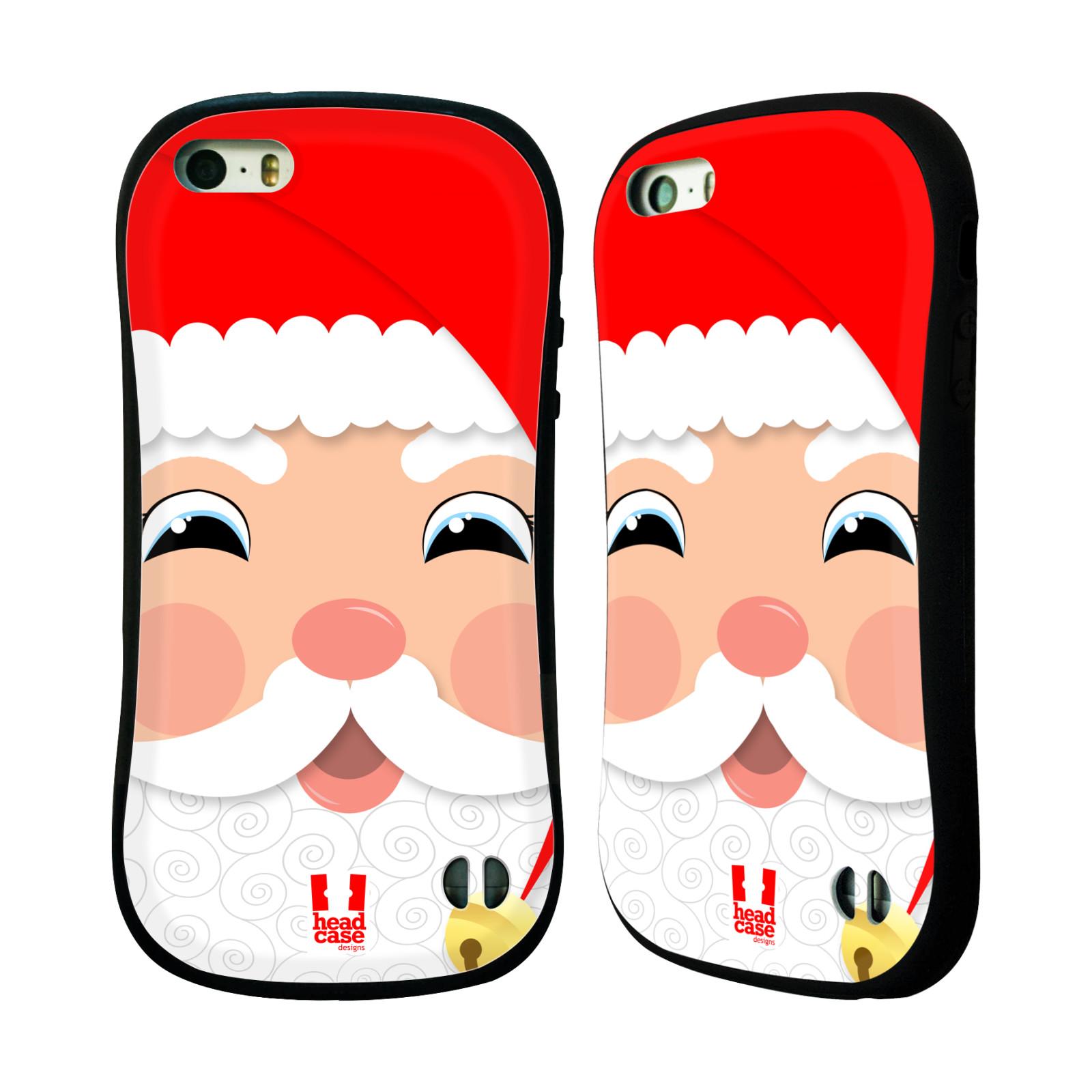 HEAD CASE silikon/plast odolný obal na mobil Apple Iphone 5/5S vzor Vánoční tváře kreslené SANTA CLAUS