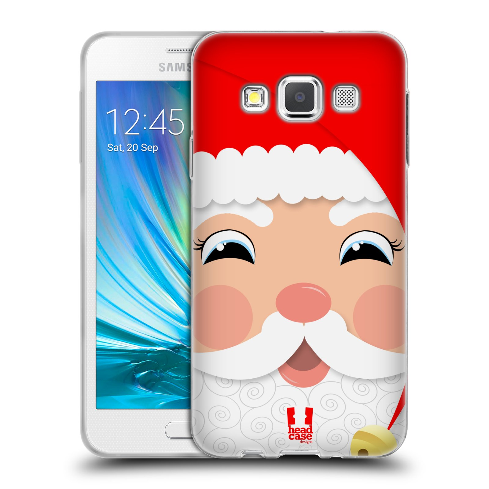 HEAD CASE silikonový obal na mobil Samsung Galaxy A3 vzor Vánoční tváře kreslené SANTA CLAUS