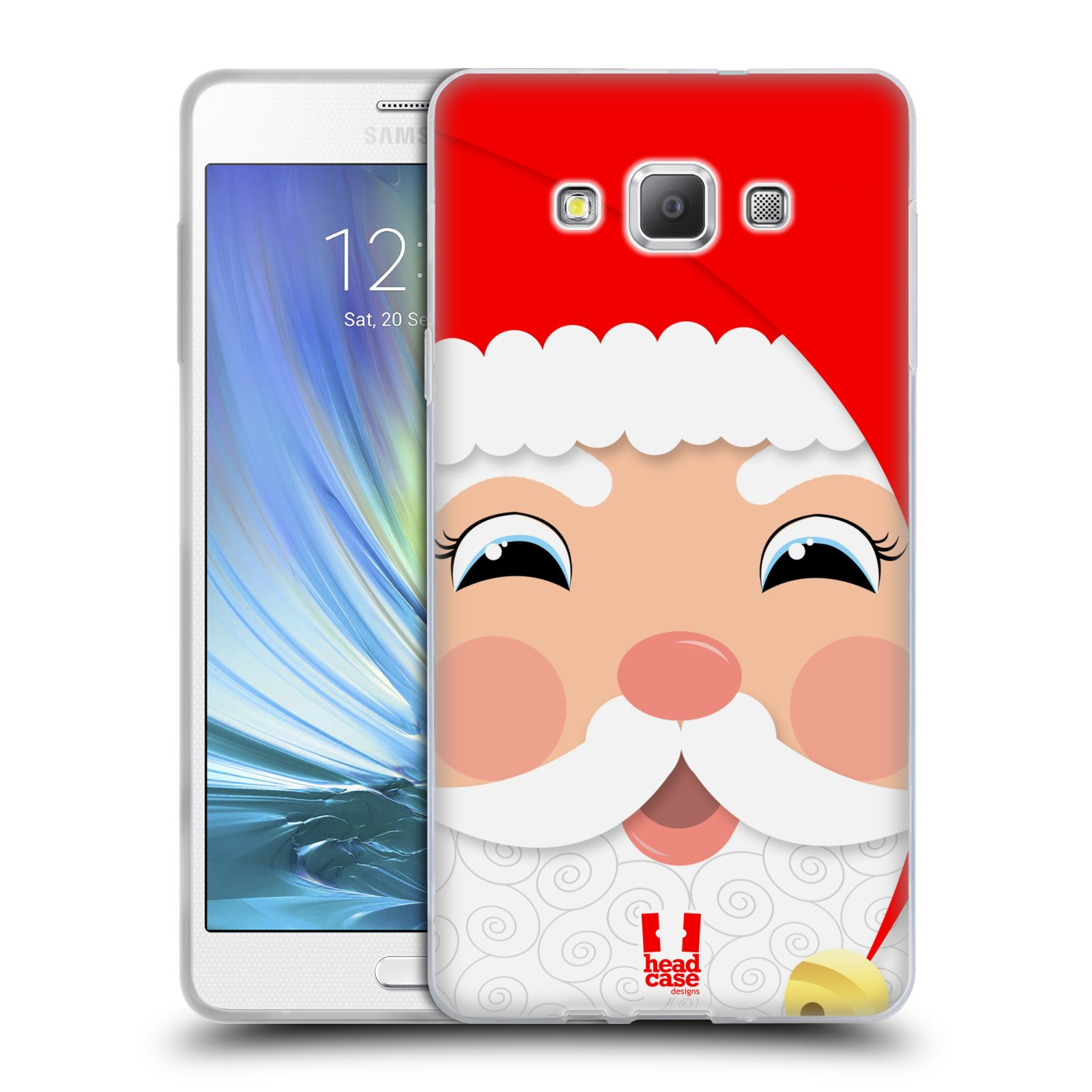 HEAD CASE silikonový obal na mobil Samsung Galaxy A7 vzor Vánoční tváře kreslené SANTA CLAUS