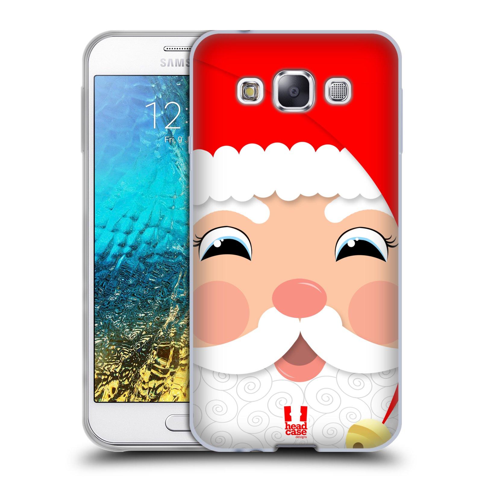 HEAD CASE silikonový obal na mobil Samsung Galaxy E5 vzor Vánoční tváře kreslené SANTA CLAUS