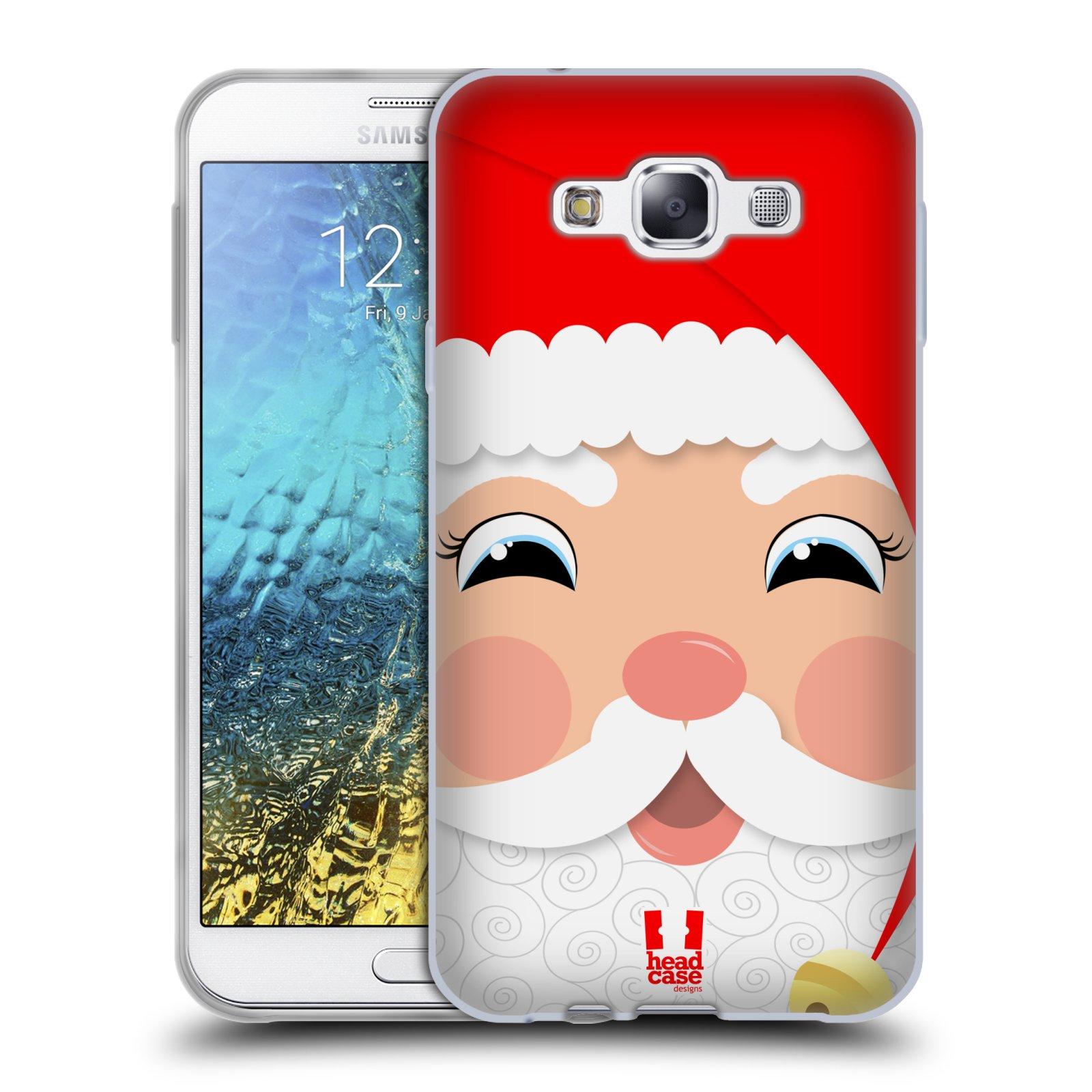HEAD CASE silikonový obal na mobil Samsung Galaxy E7 vzor Vánoční tváře kreslené SANTA CLAUS