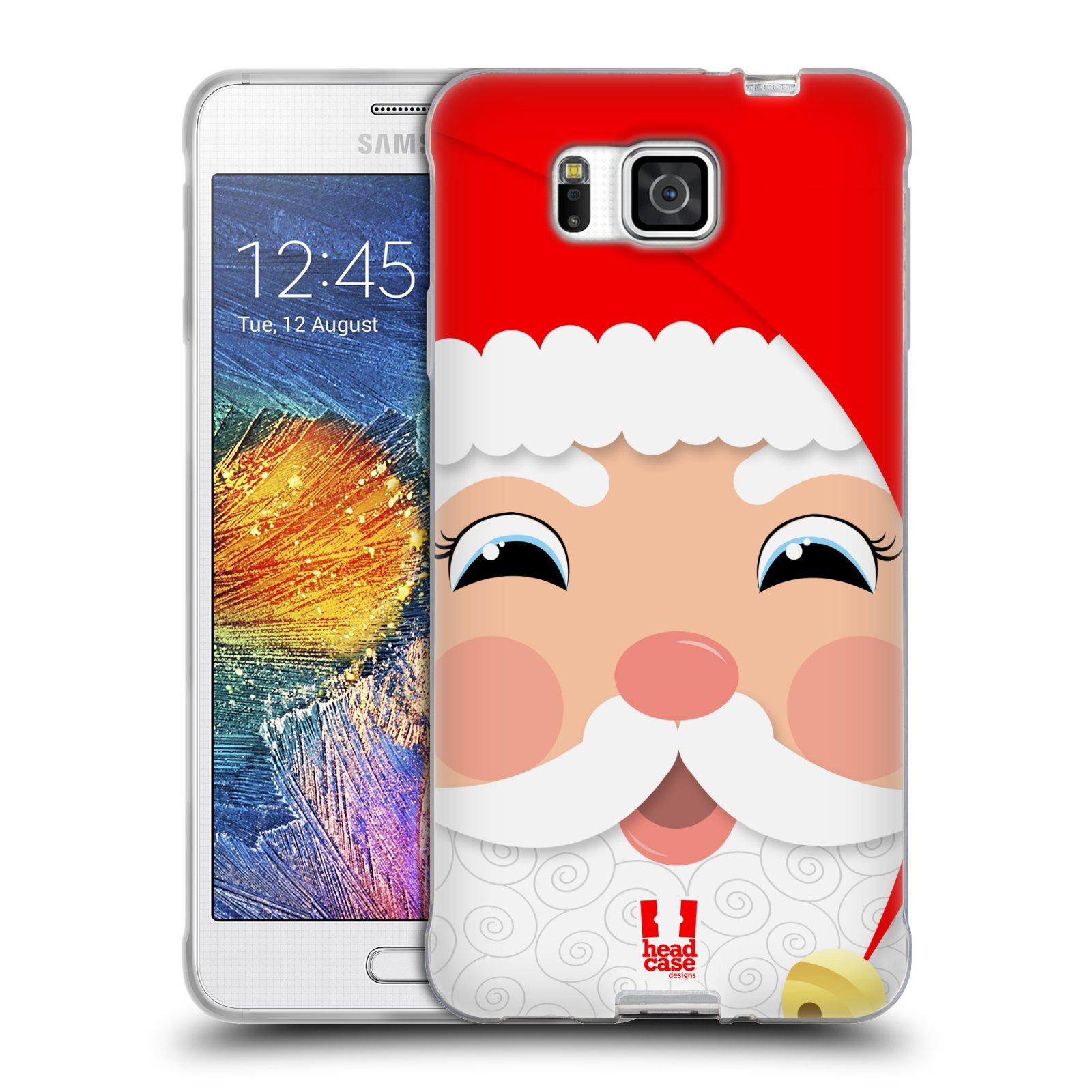 HEAD CASE silikonový obal na mobil Samsung Galaxy ALPHA vzor Vánoční tváře kreslené SANTA CLAUS