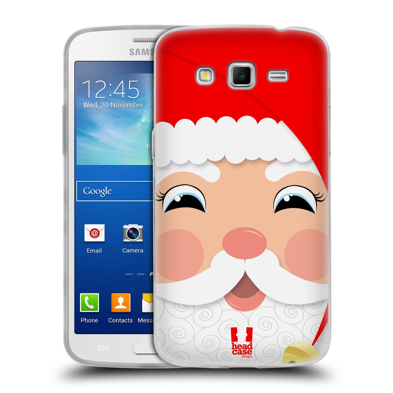 HEAD CASE silikonový obal na mobil Samsung Galaxy GRAND 2 vzor Vánoční tváře kreslené SANTA CLAUS