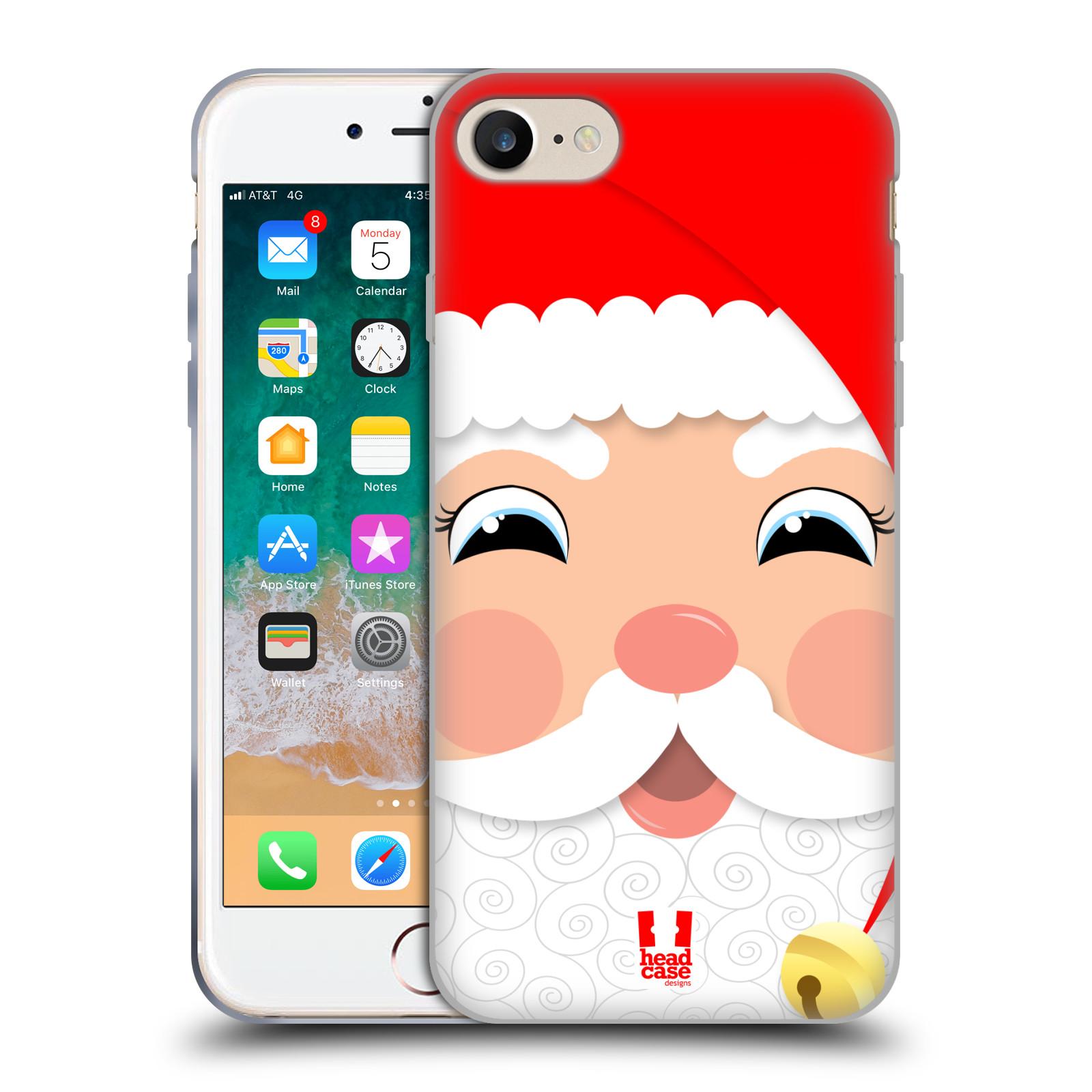 HEAD CASE silikonový obal na mobil Apple Iphone 7 vzor Vánoční tváře kreslené SANTA CLAUS