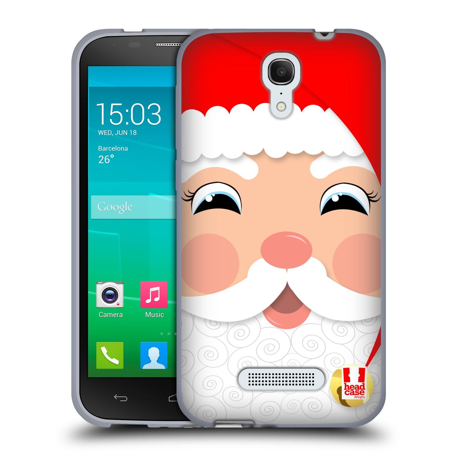 HEAD CASE silikonový obal na mobil Alcatel POP S7 vzor Vánoční tváře kreslené SANTA CLAUS