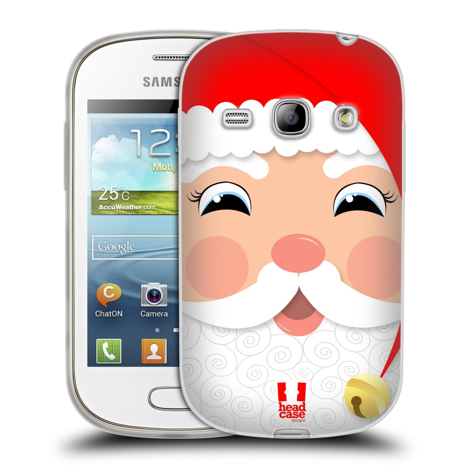 HEAD CASE silikonový obal na mobil Samsung Galaxy FAME vzor Vánoční tváře kreslené SANTA CLAUS