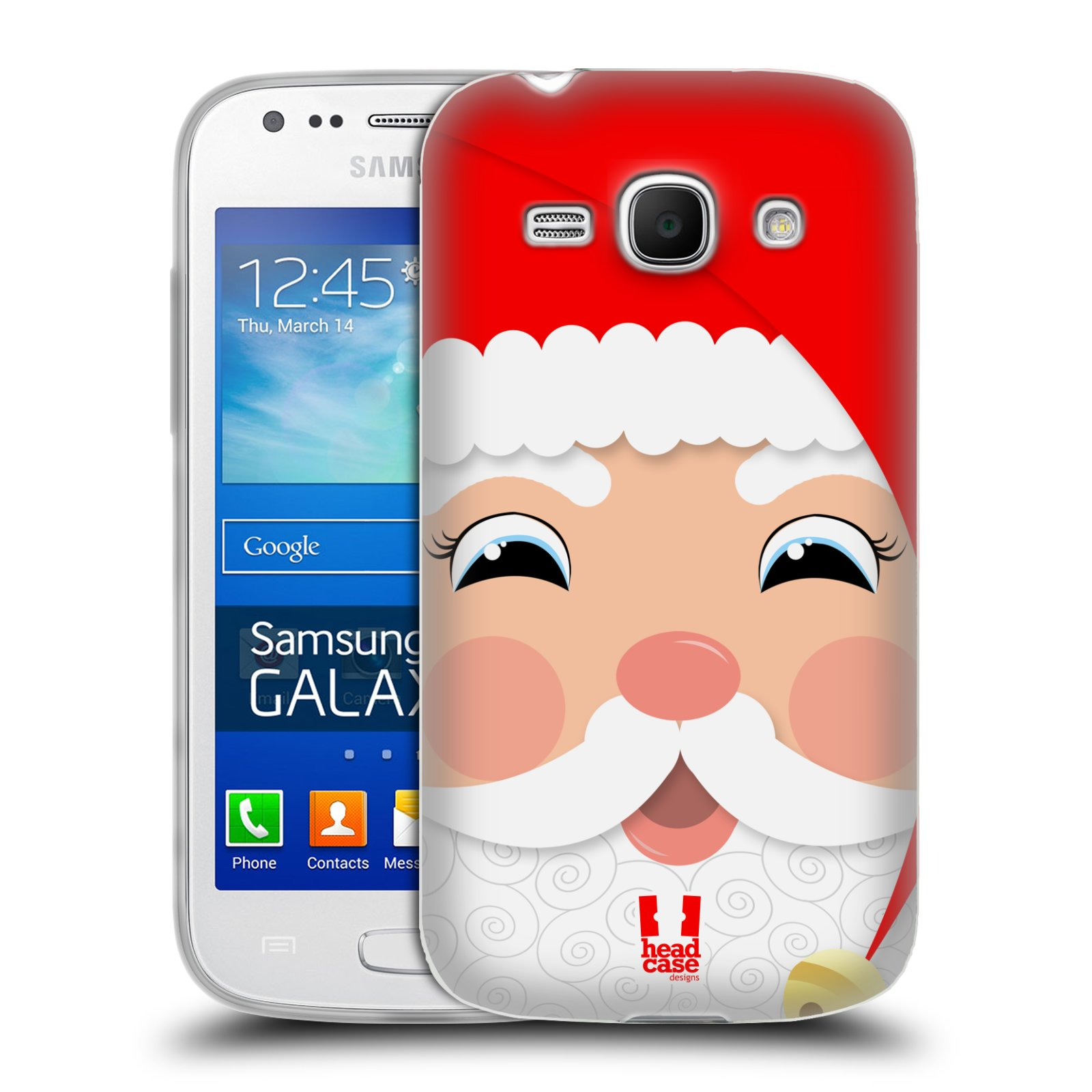 HEAD CASE silikonový obal na mobil Samsung Galaxy Ace 3 vzor Vánoční tváře kreslené SANTA CLAUS