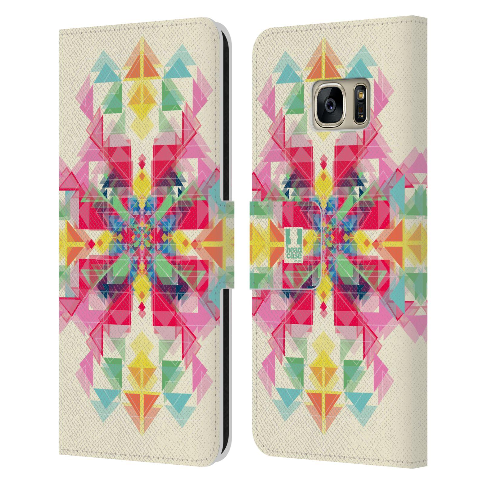 HEAD CASE Flipové pouzdro pro mobil Samsung Galaxy S7 (G9300) kaleidoskop abstraktní trojúhelníky barevný vzor