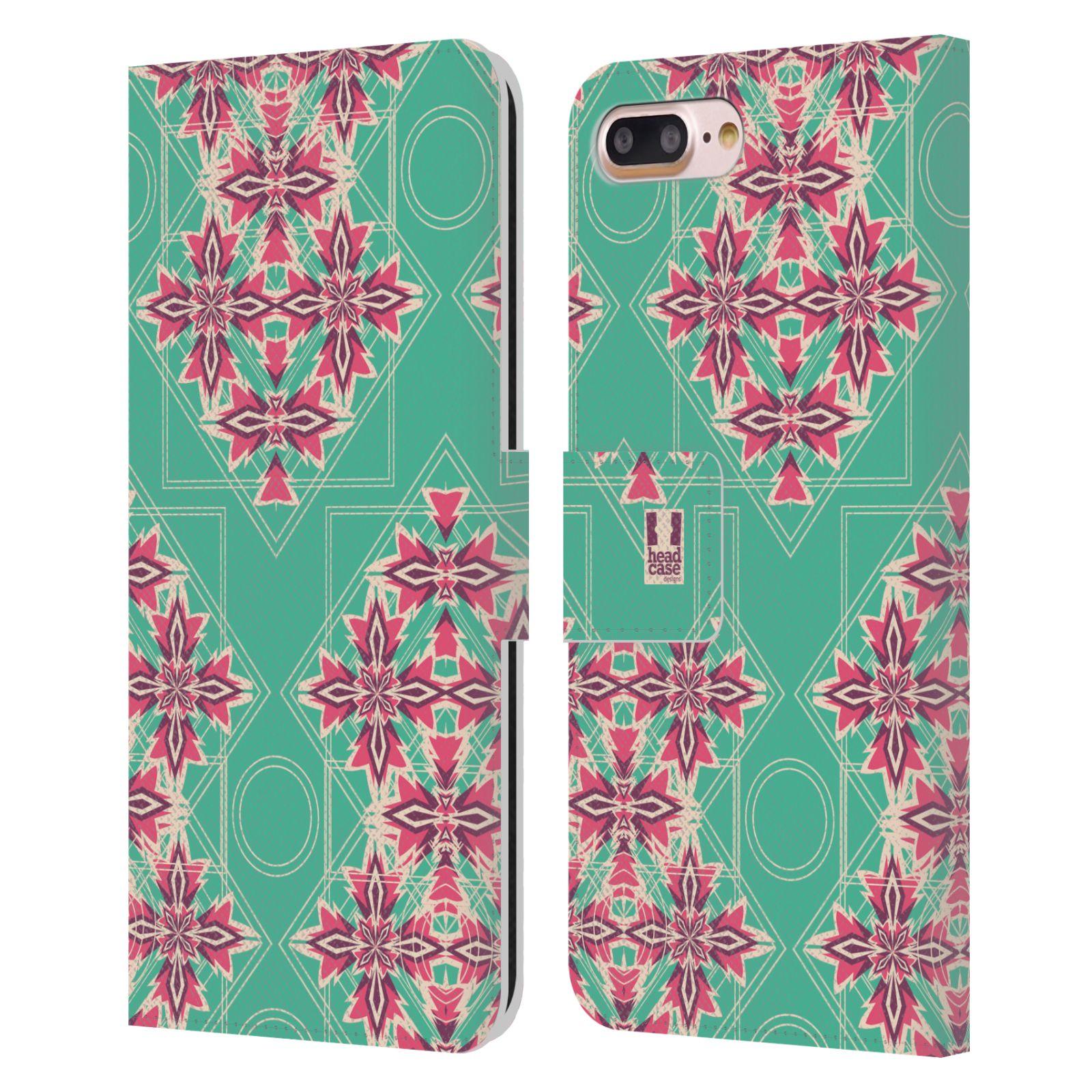 HEAD CASE Flipové pouzdro pro mobil Apple Iphone 7 PLUS / 8 PLUS kaleidoskop květinový diamant tyrkysová