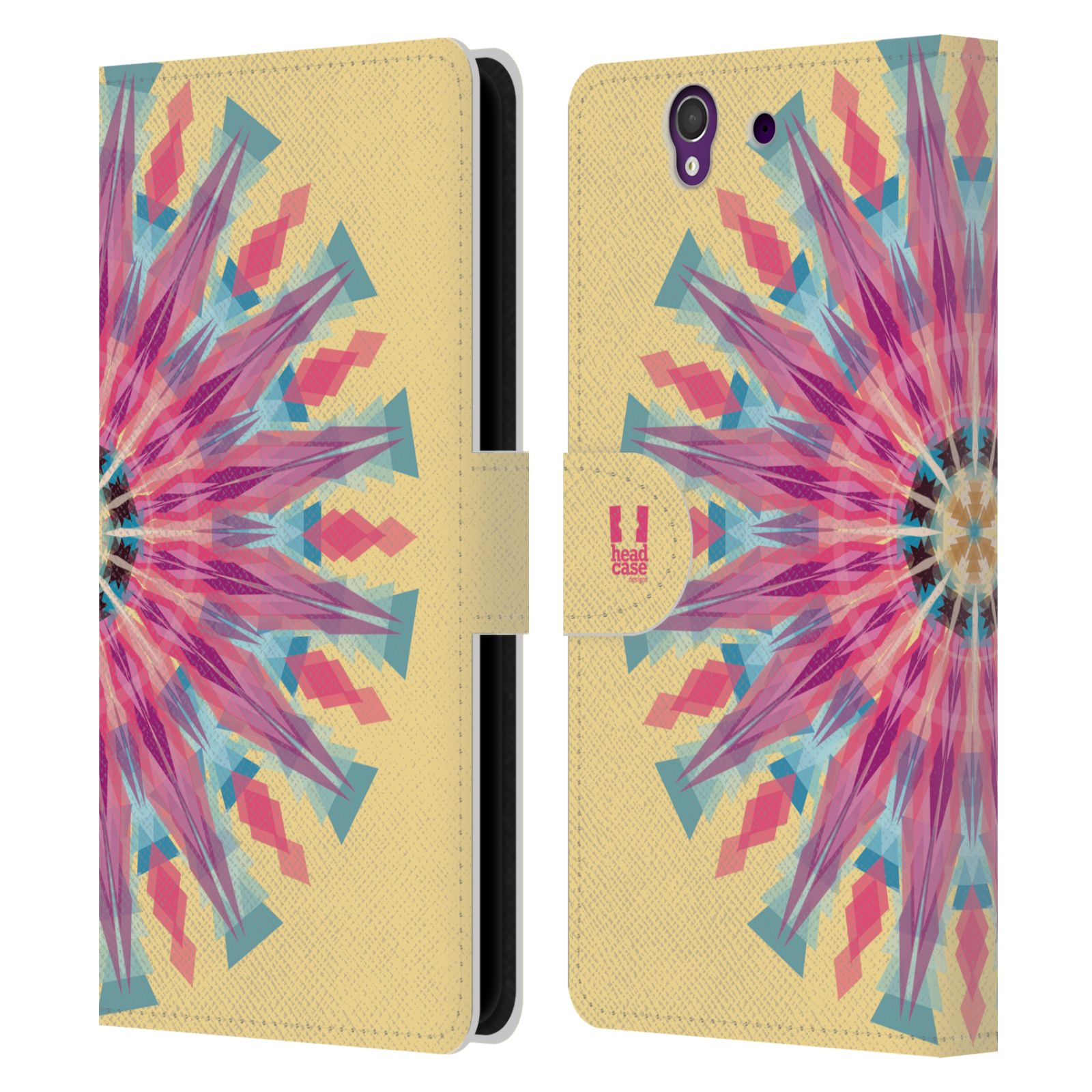 HEAD CASE Flipové pouzdro pro mobil SONY XPERIA Z (C6603) kaleidoskop mandala růžová barva slunce