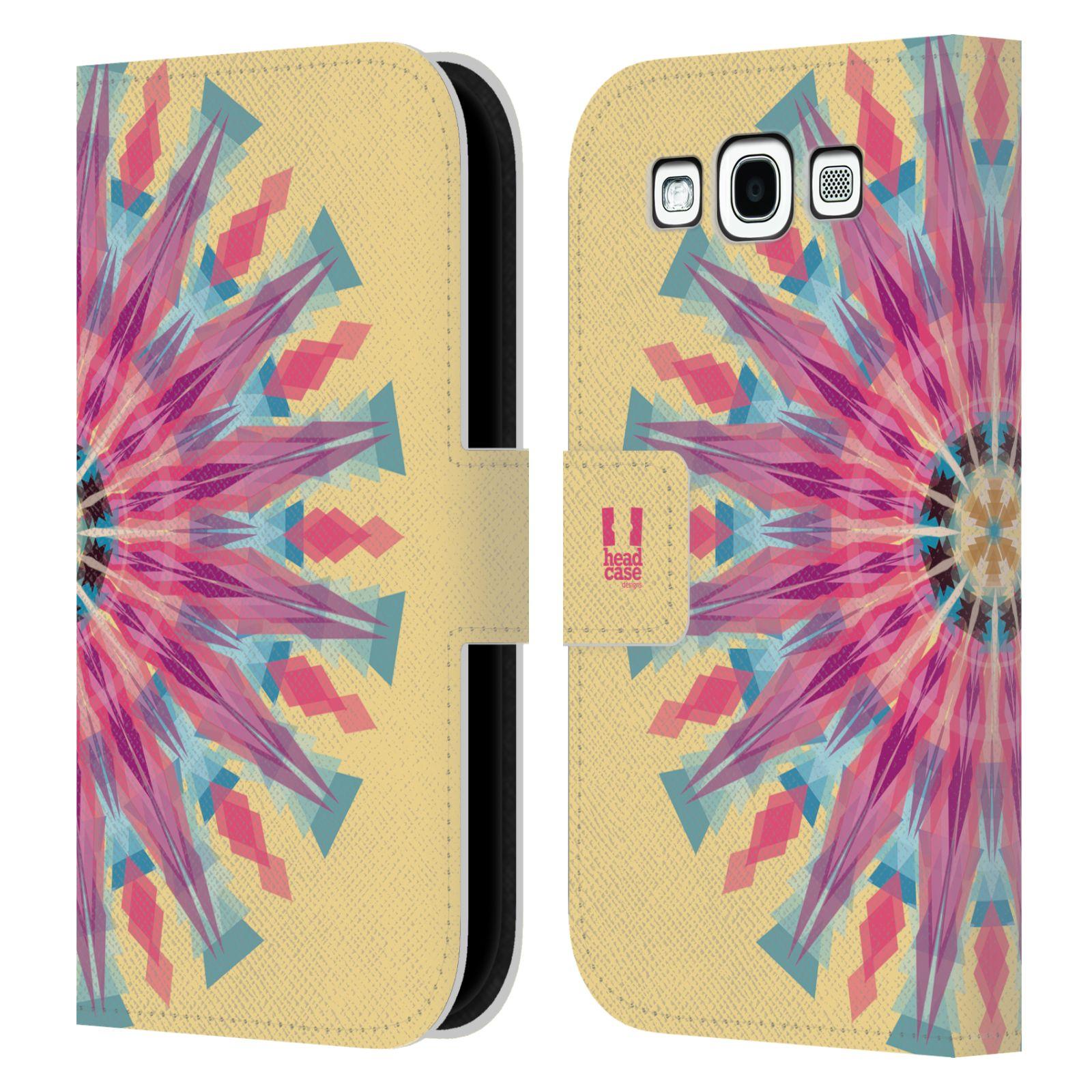 HEAD CASE Flipové pouzdro pro mobil Samsung Galaxy S3 kaleidoskop mandala růžová barva slunce