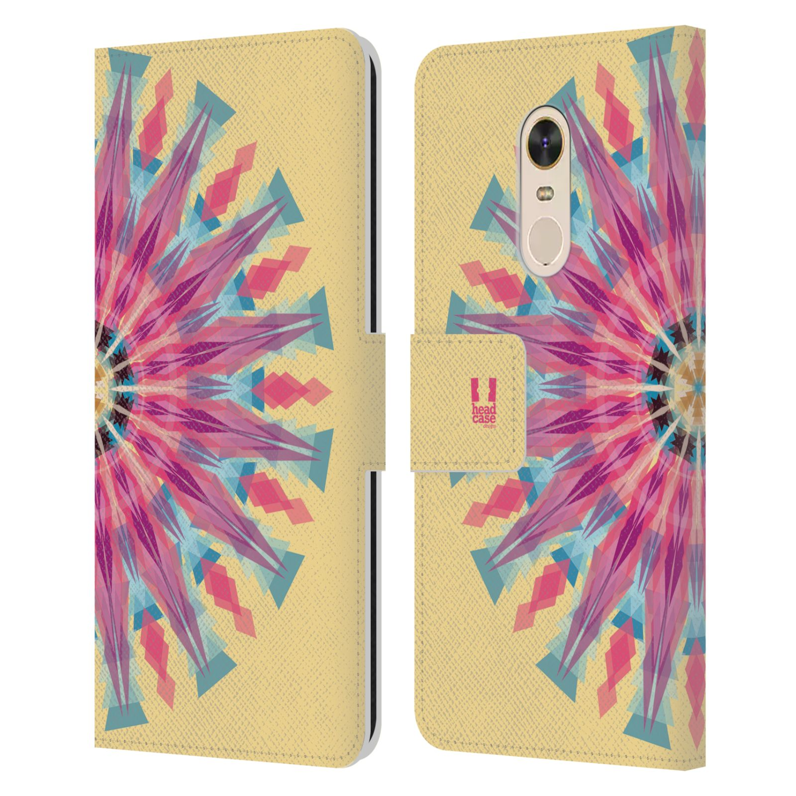 HEAD CASE Flipové pouzdro pro mobil Xiaomi Redmi Note 5 kaleidoskop mandala růžová barva slunce