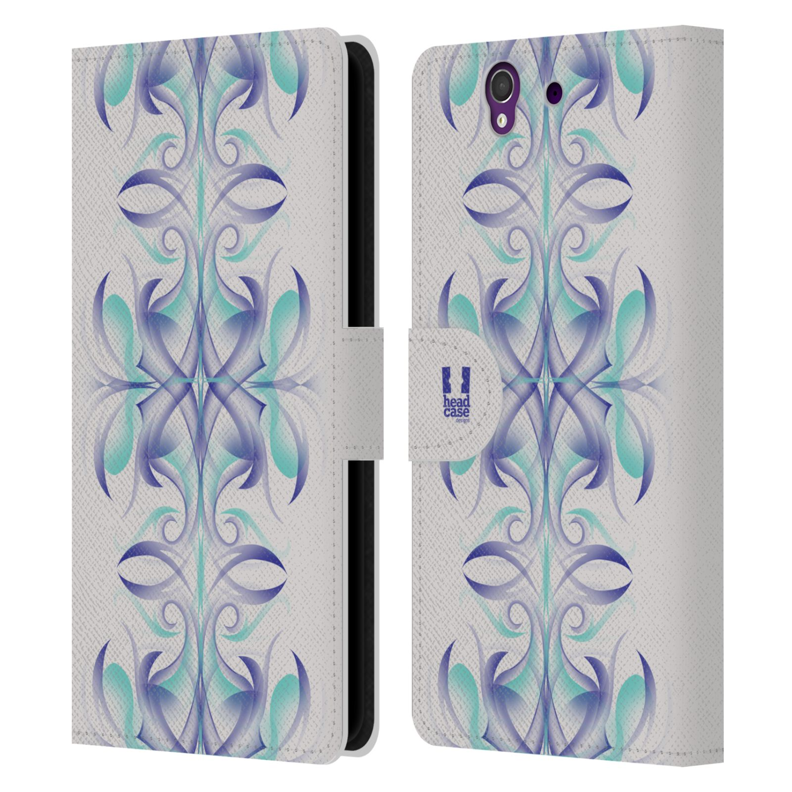 HEAD CASE Flipové pouzdro pro mobil SONY XPERIA Z (C6603) kaleidoskop vlny modrá