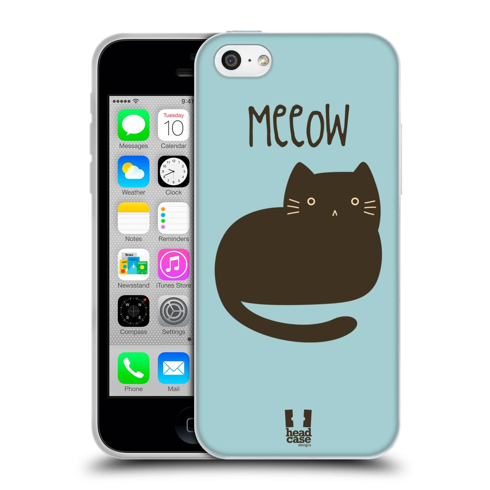 HEAD CASE silikonový obal na mobil Apple Iphone 5C vzor Rozotmilé malé kreslené kočičky BOMBAJSKÁ MODRÁ