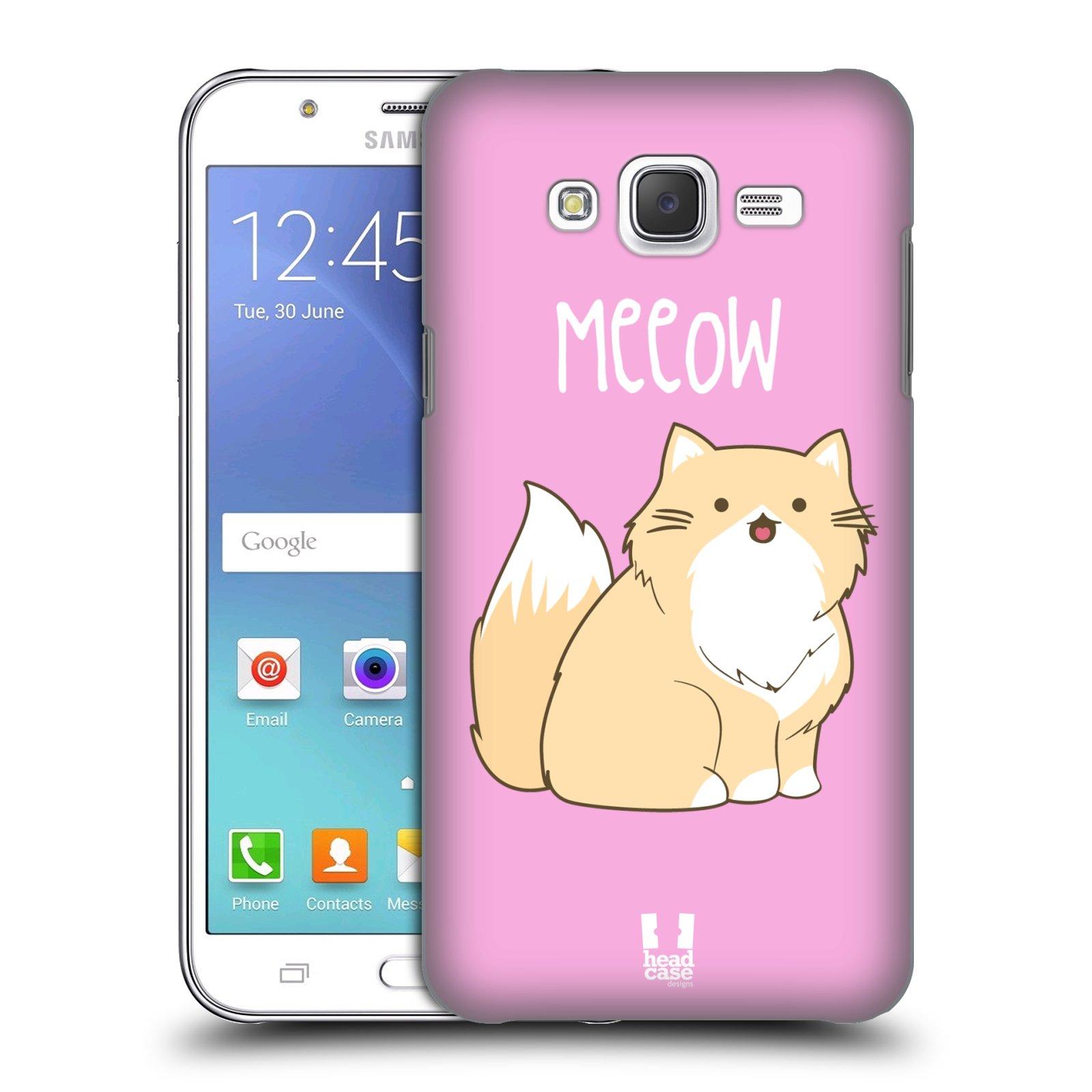 HEAD CASE plastový obal na mobil SAMSUNG Galaxy J5, J500 vzor Rozotmilé malé kreslené kočičky PERSKÁ RŮŽOVÁ