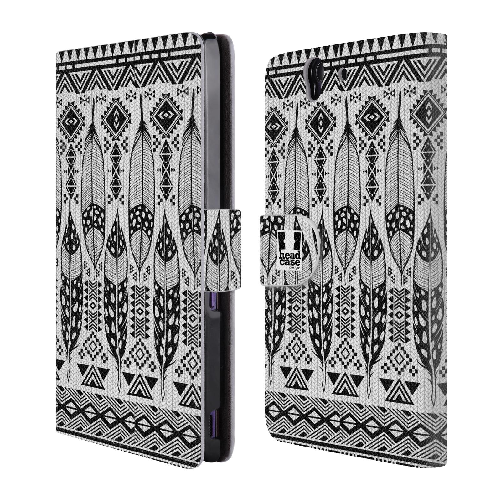 HEAD CASE Flipové pouzdro pro mobil SONY XPERIA Z (C6603) černá a bílá barva tenká pírka