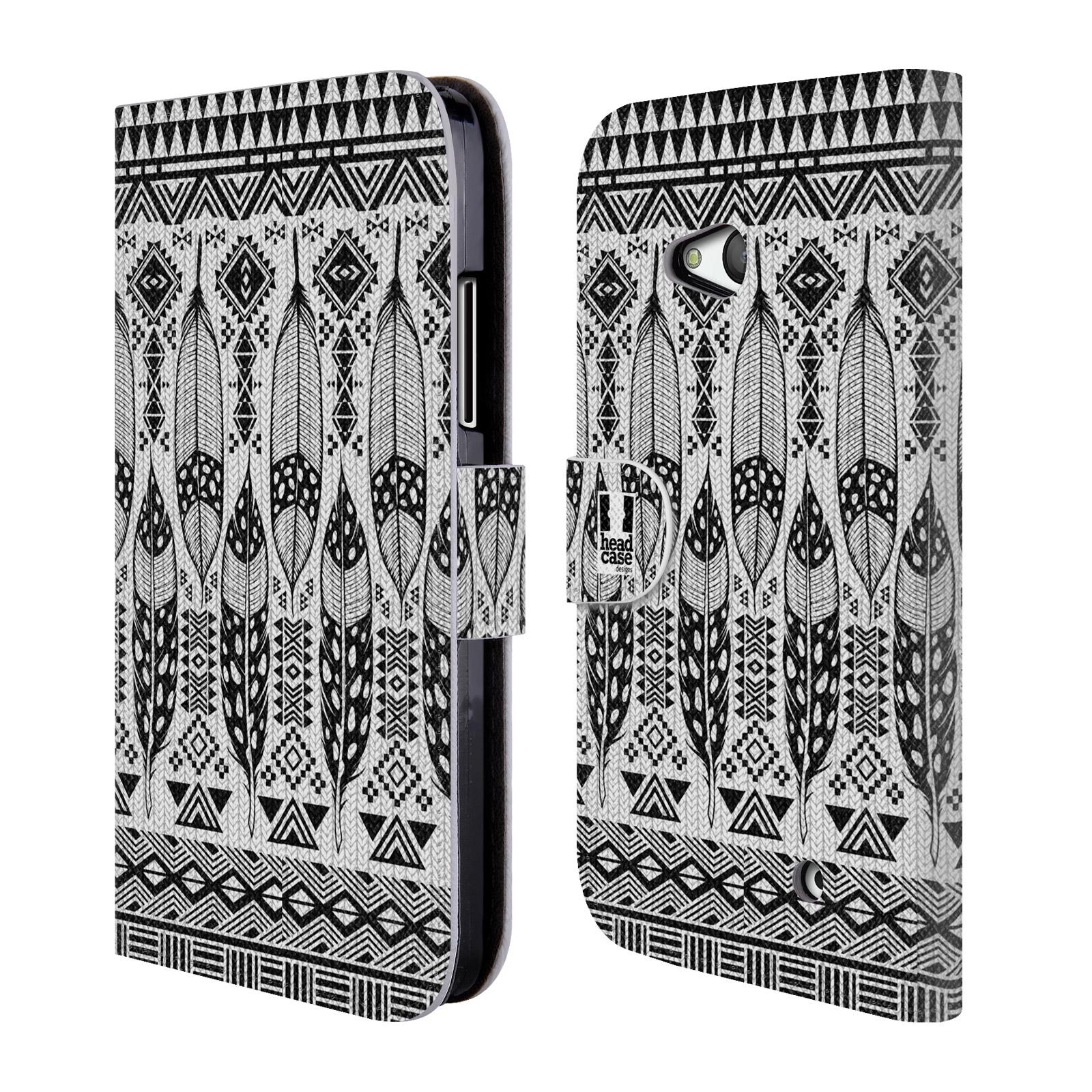 HEAD CASE Flipové pouzdro pro mobil NOKIA / MICROSOFT LUMIA 640 / LUMIA 640 DUAL černá a bílá barva tenká pírka
