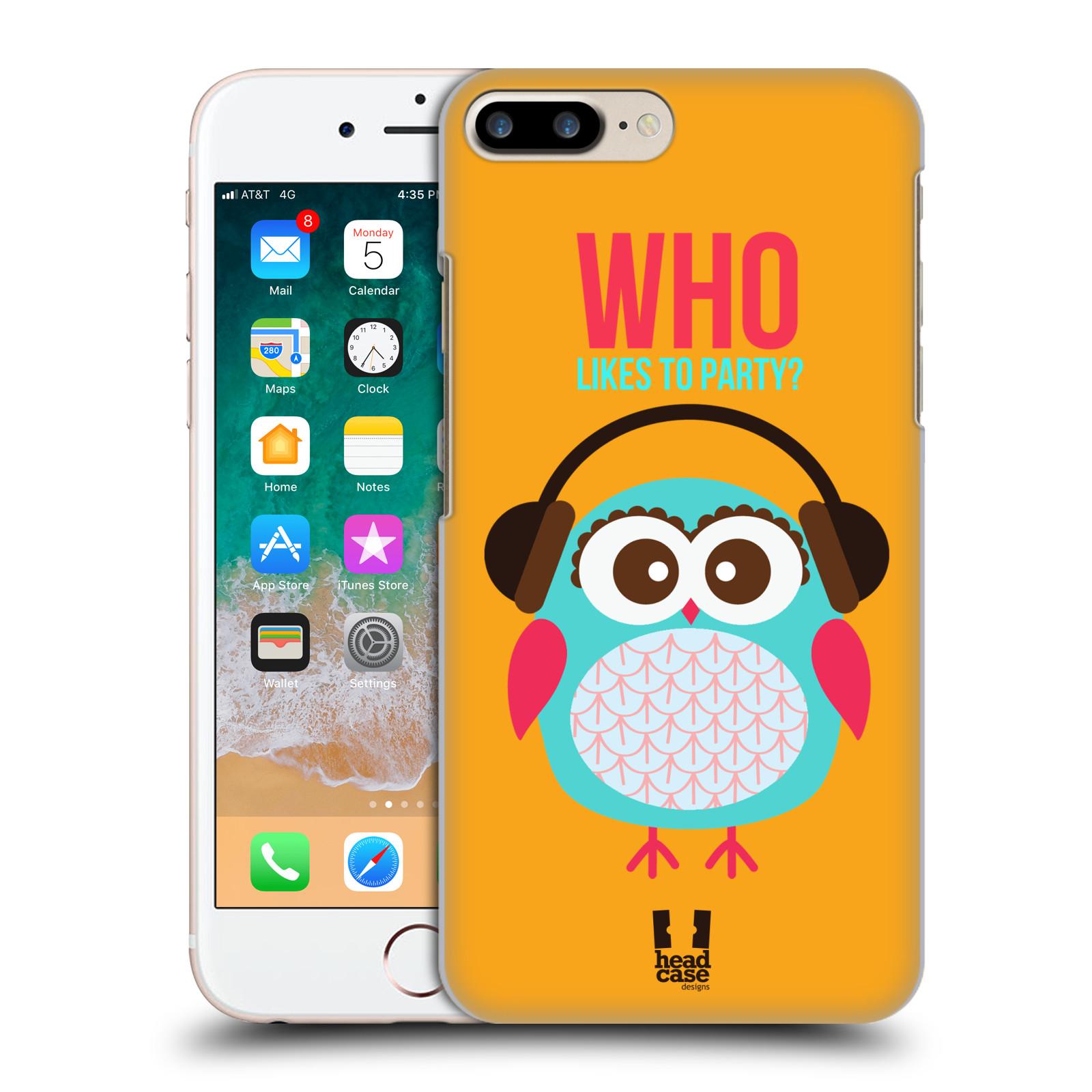 HEAD CASE plastový obal na mobil Apple Iphone 7 PLUS vzor Malé roztomilé sovičky oranžová párty