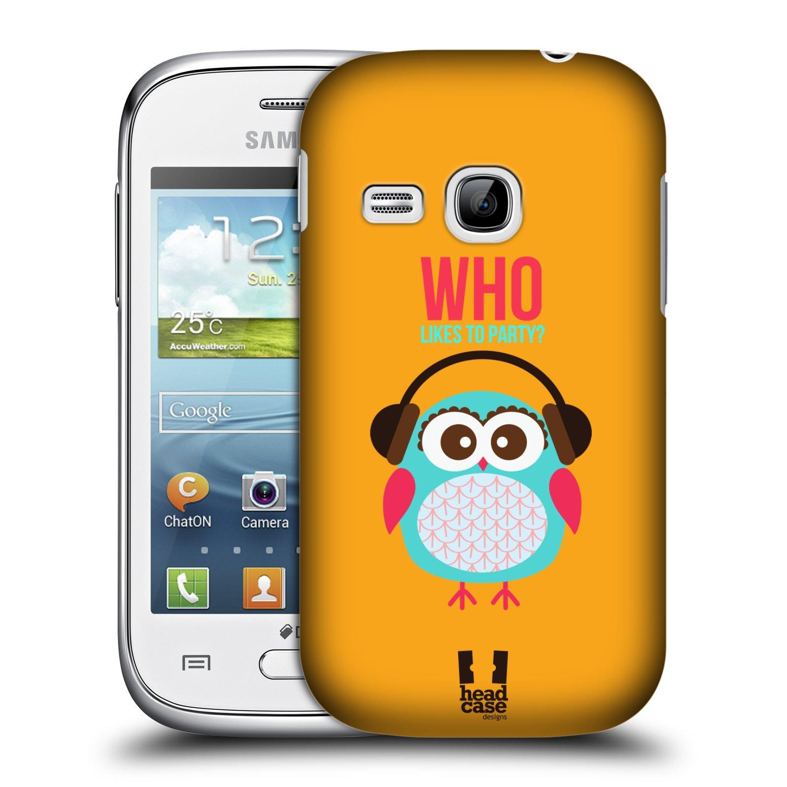 HEAD CASE plastový obal na mobil SAMSUNG Galaxy Young S6310 vzor Malé roztomilé sovičky oranžová párty