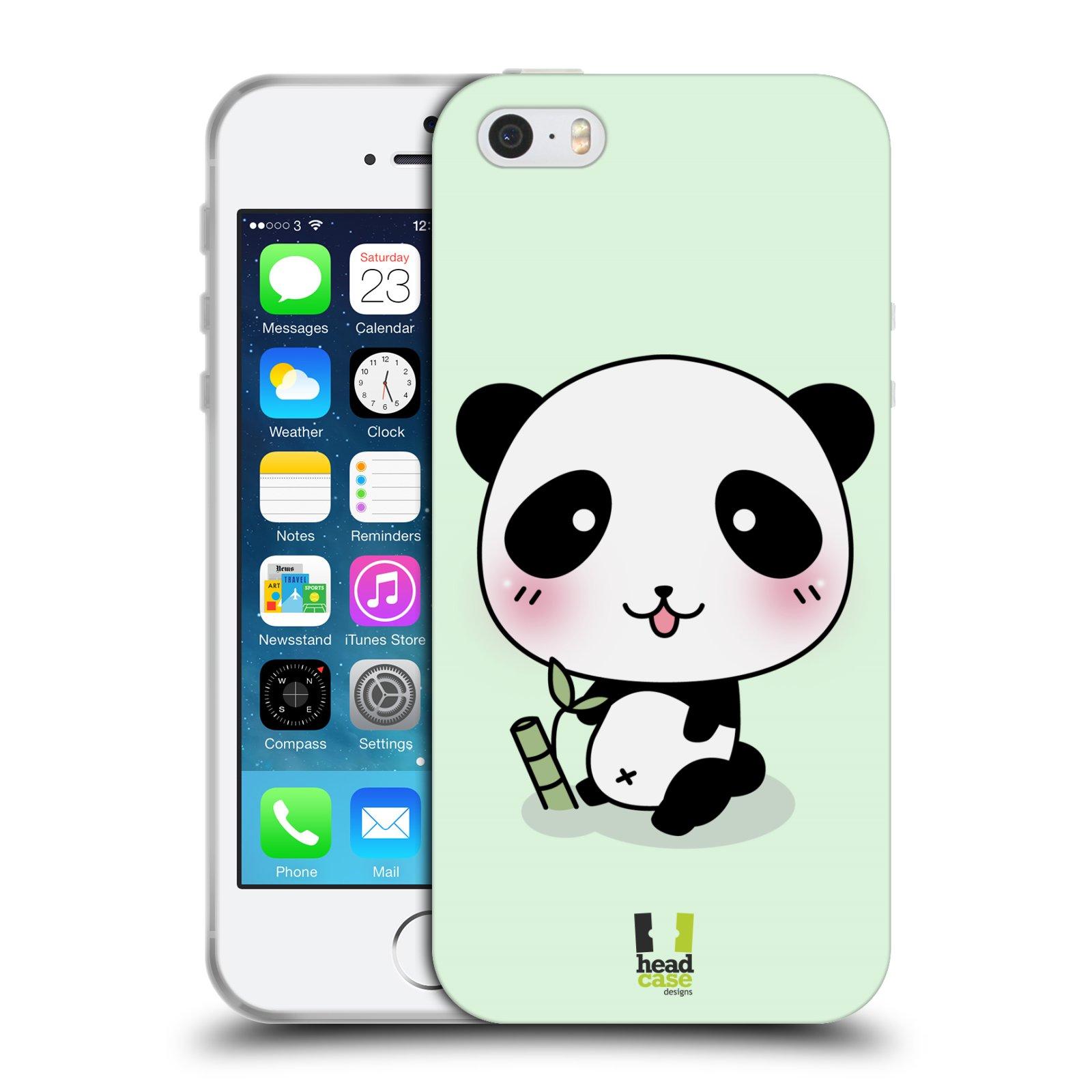 HEAD CASE silikonový obal na mobil Apple Iphone 5 5S vzor Roztomilá panda  zelená 7c69a2bb2b8