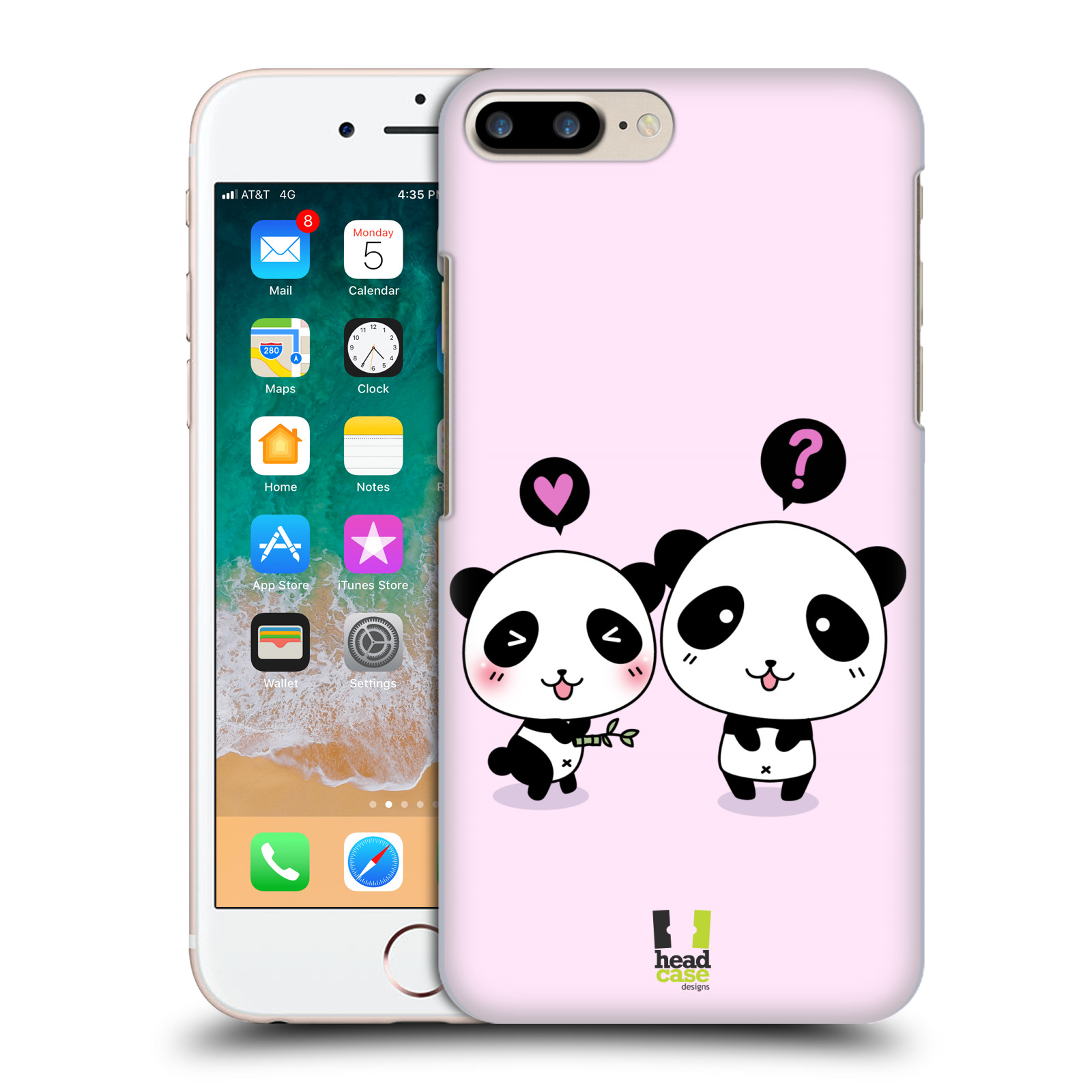 HEAD CASE plastový obal na mobil Apple Iphone 7 PLUS vzor Roztomilá panda růžová