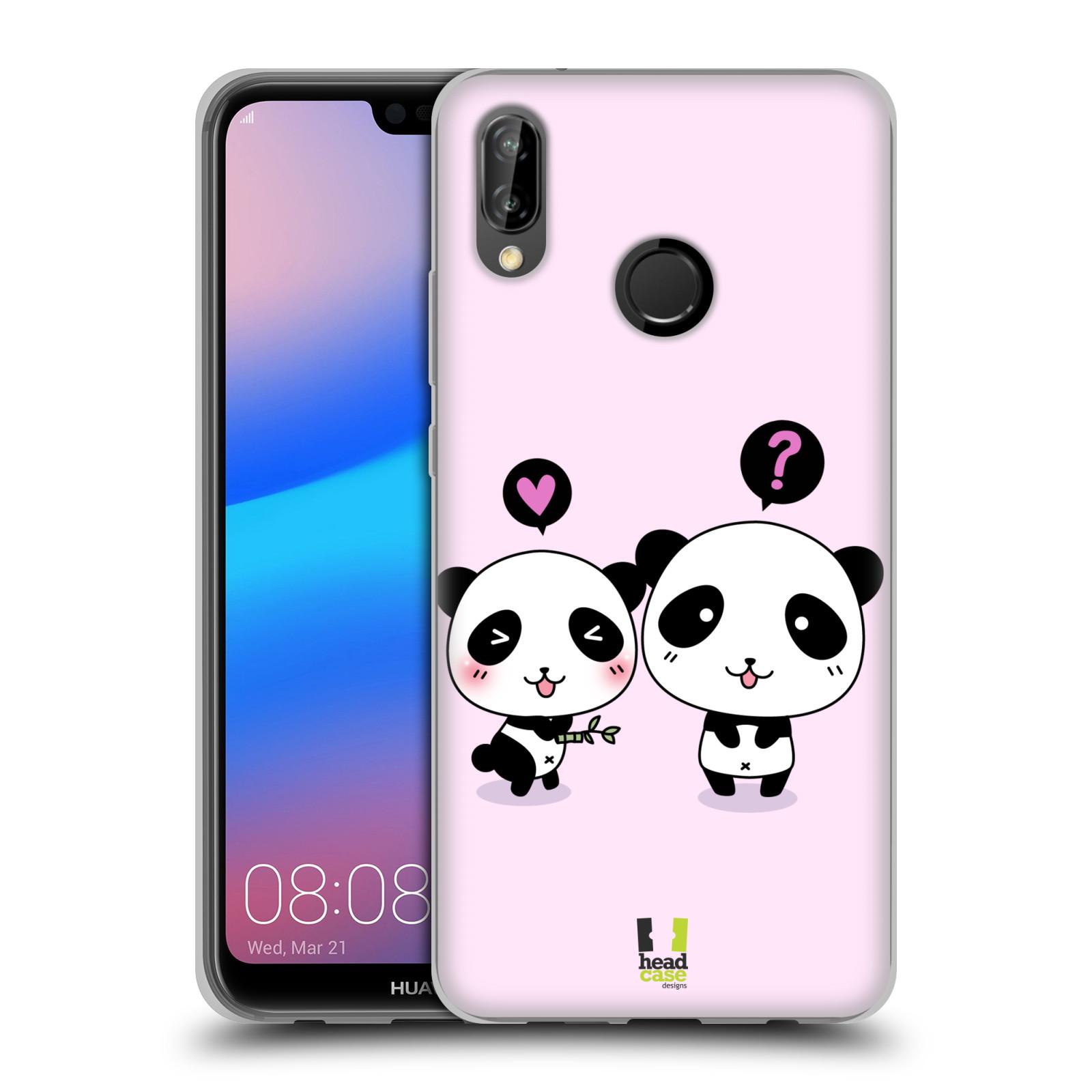 HEAD CASE silikonový obal na mobil Huawei P20 LITE vzor Roztomilá panda růžová