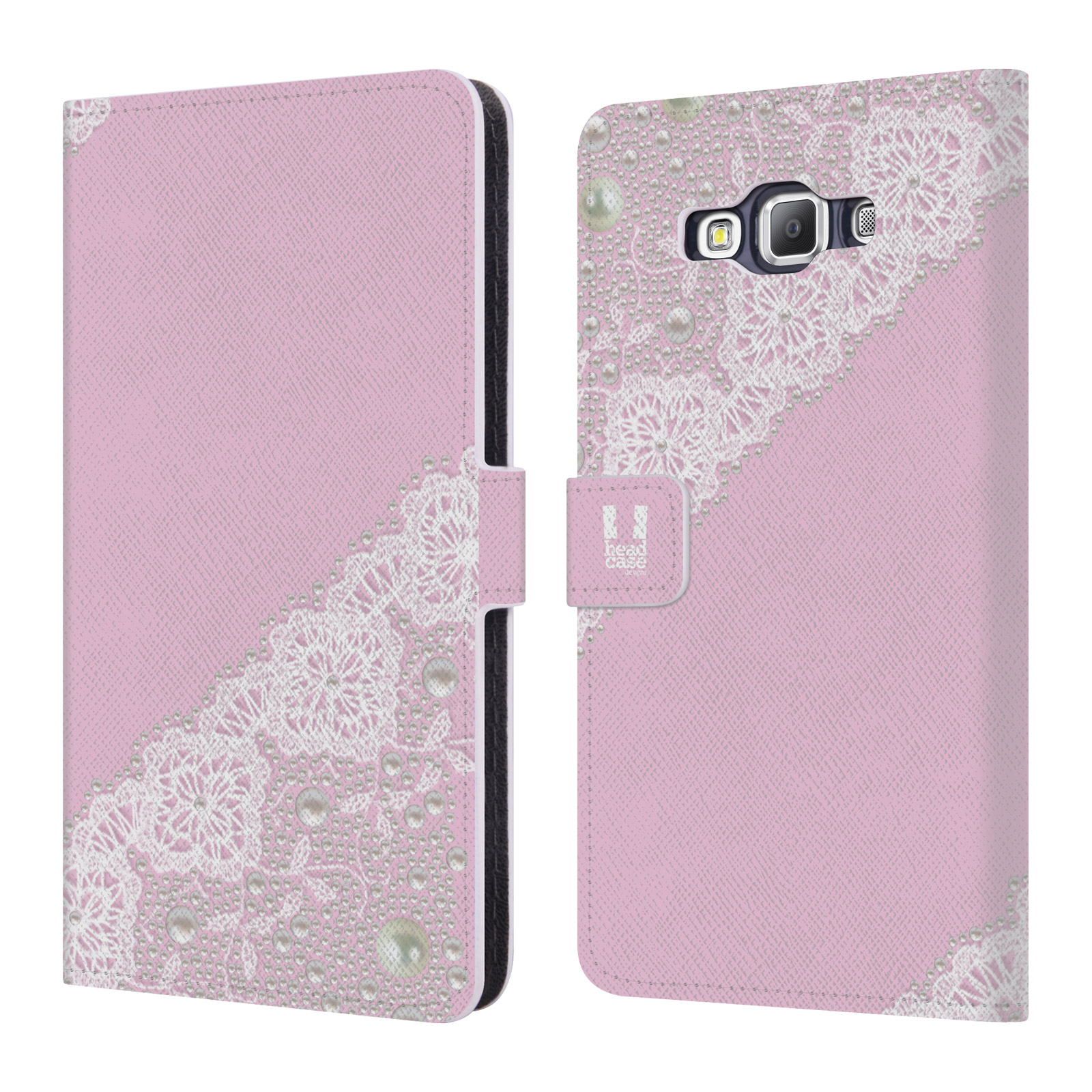 HEAD CASE Flipové pouzdro pro mobil Samsung Galaxy A7 (A700) krajka růžová barva