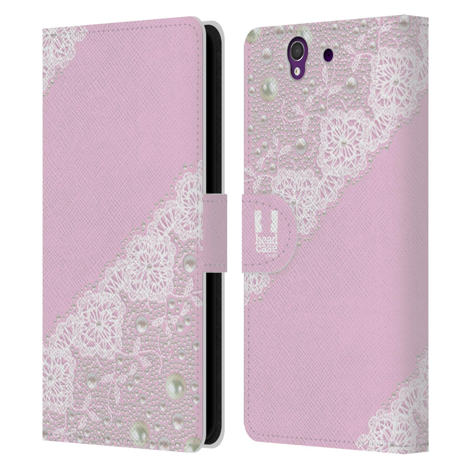 HEAD CASE Flipové pouzdro pro mobil SONY XPERIA Z (C6603) krajka růžová barva