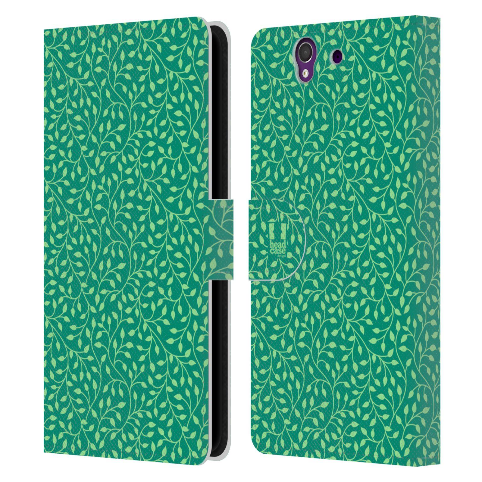 HEAD CASE Flipové pouzdro pro mobil SONY XPERIA Z (C6603) vzory listy zelená mentol