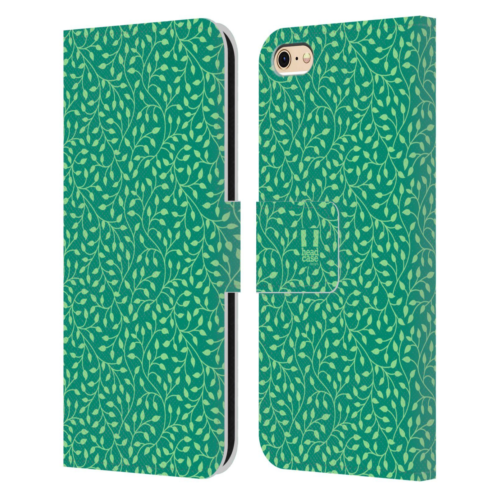 HEAD CASE Flipové pouzdro pro mobil Apple Iphone 6/6s vzory listy zelená mentol