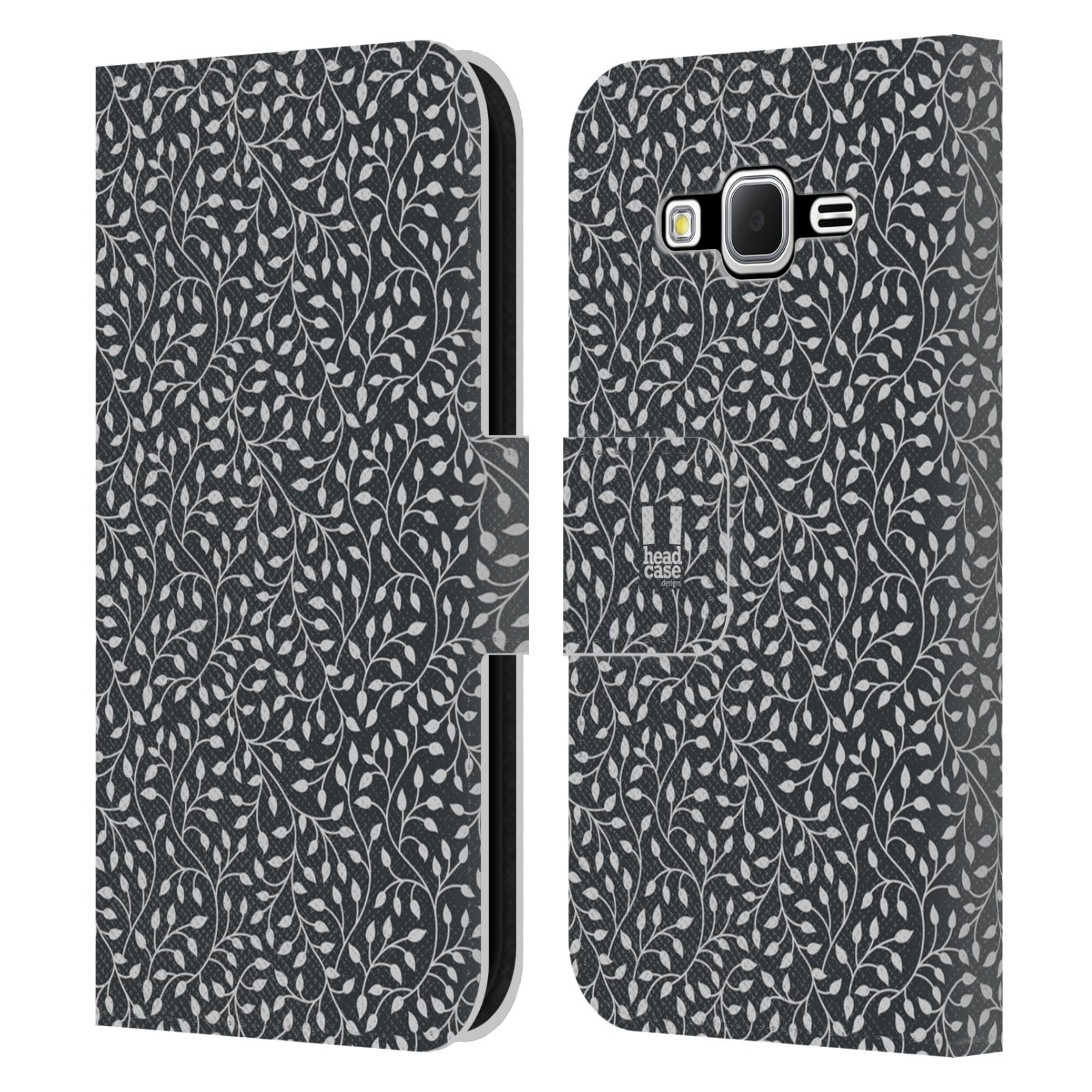 HEAD CASE Flipové pouzdro pro mobil Samsung Galaxy CORE PRIME vzory listy tmavá