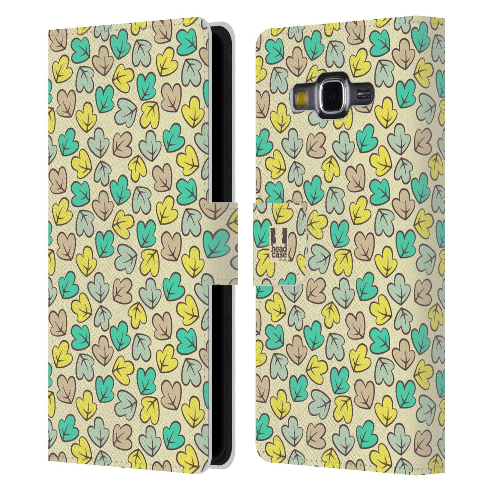 HEAD CASE Flipové pouzdro pro mobil Samsung Galaxy Grand PRIME vzory listy zelená a béžová