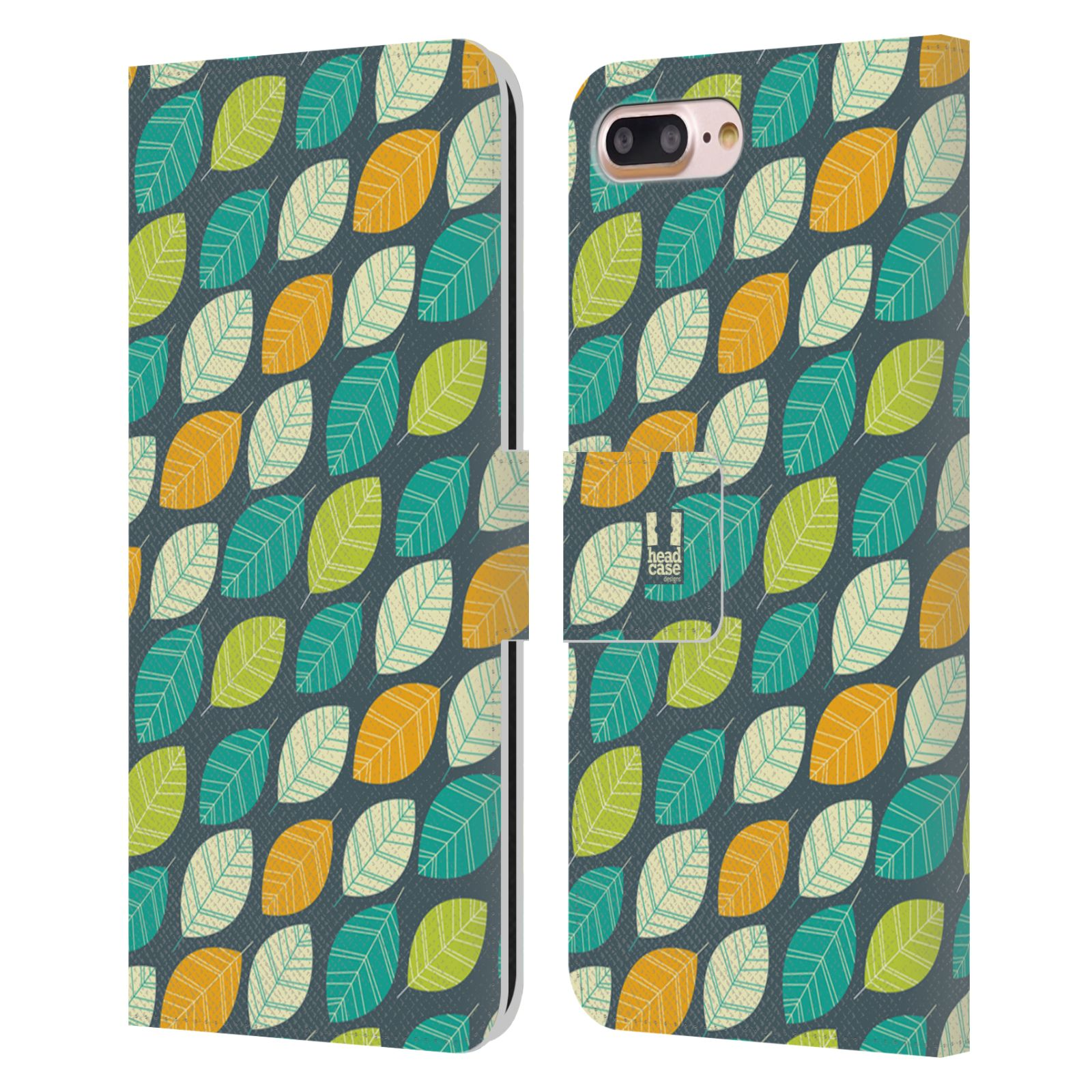 HEAD CASE Flipové pouzdro pro mobil Apple Iphone 7 PLUS / 8 PLUS vzory listy zelená a oranžová