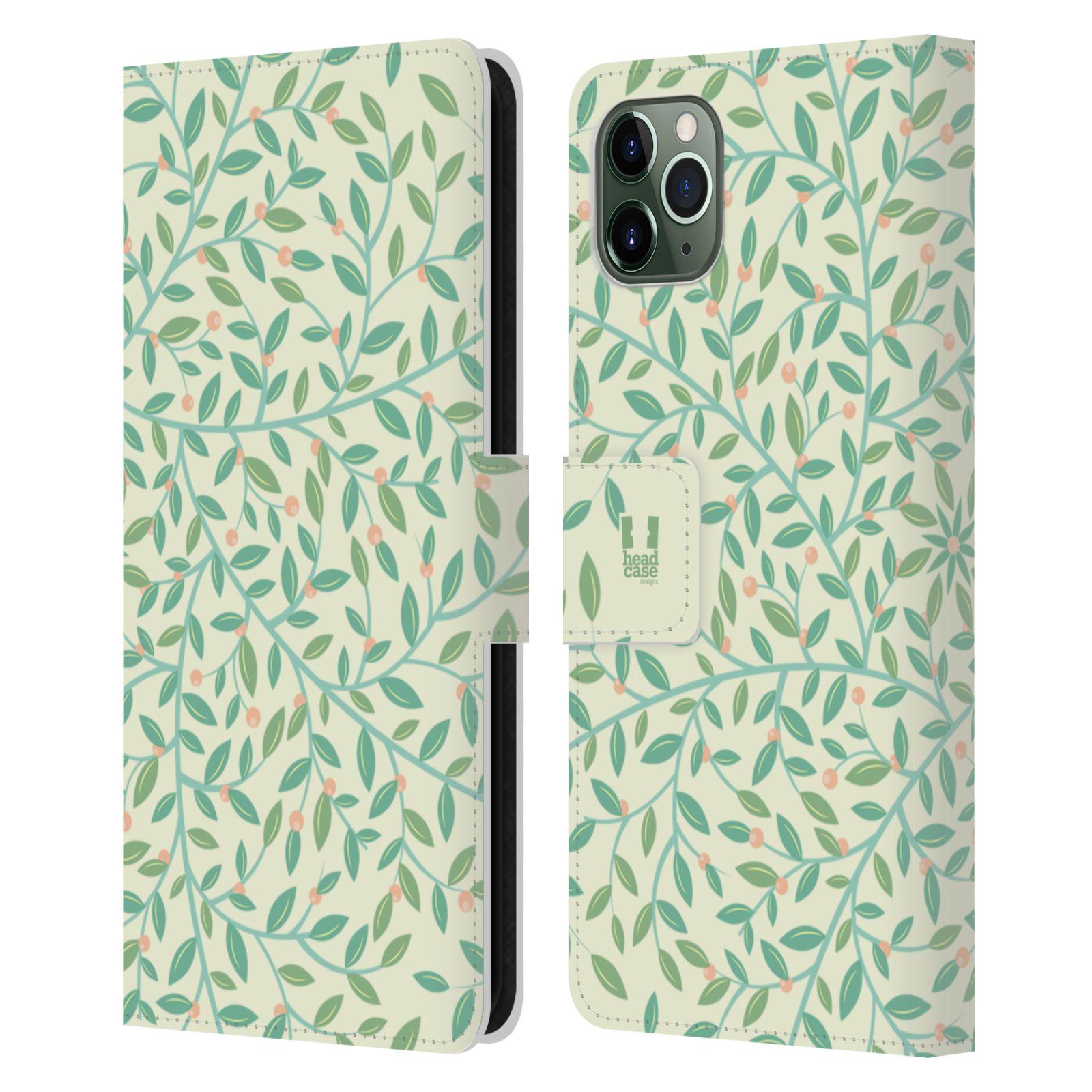 Pouzdro na mobil Apple Iphone 11 PRO MAX vzory listy zelená malé lístečky