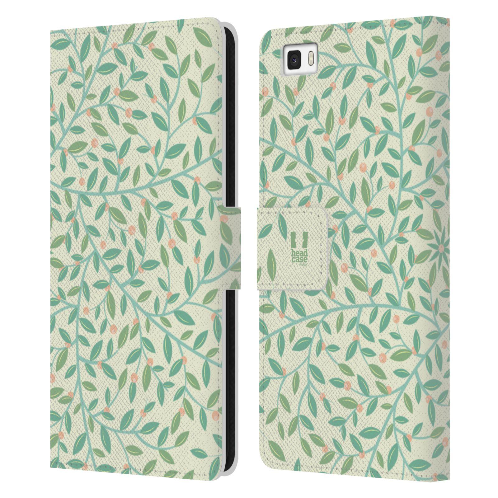 HEAD CASE Flipové pouzdro pro mobil Huawei P8 LITE vzory listy zelená malé lístečky